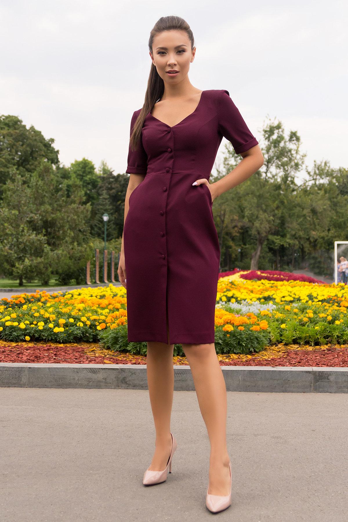 Деловое платье миди Тетрис 7917 АРТ. 43903 Цвет: Винный - фото 1, интернет магазин tm-modus.ru