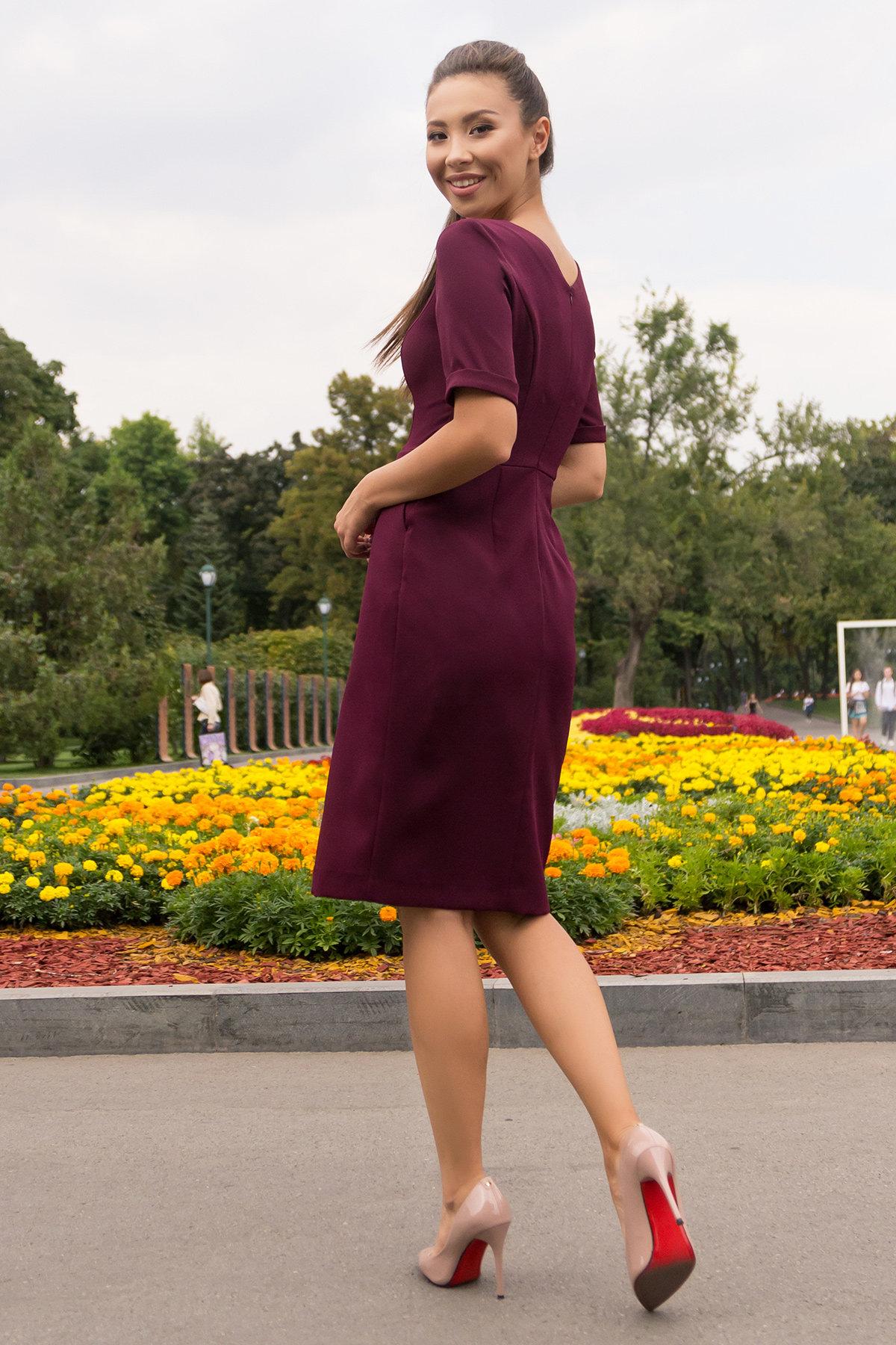 Деловое платье миди Тетрис 7917 АРТ. 43903 Цвет: Винный - фото 2, интернет магазин tm-modus.ru
