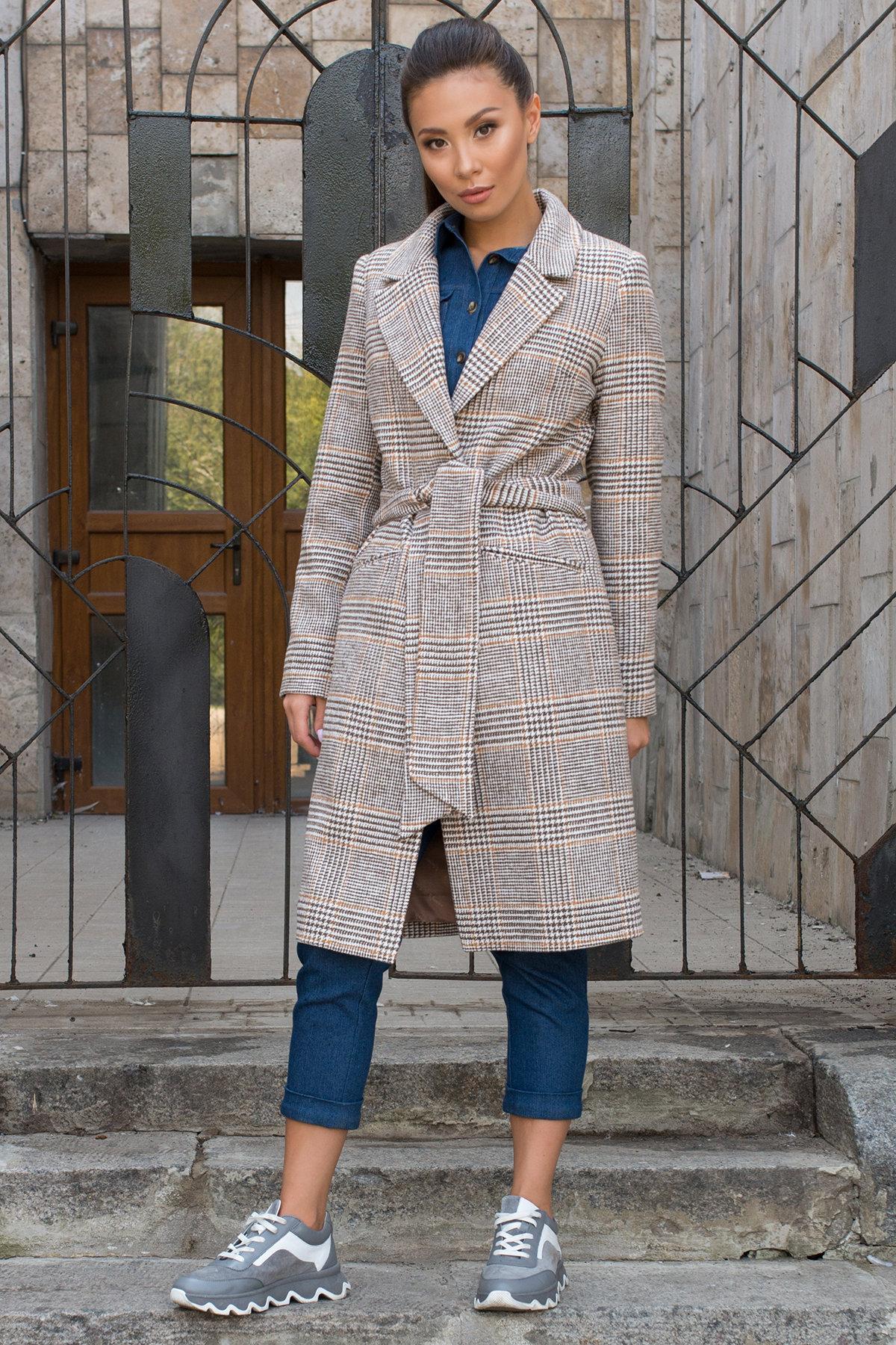 Клетчатое пальто светло серого цвета Эрли 7861 Цвет: Клетка кр шок/мол/беж