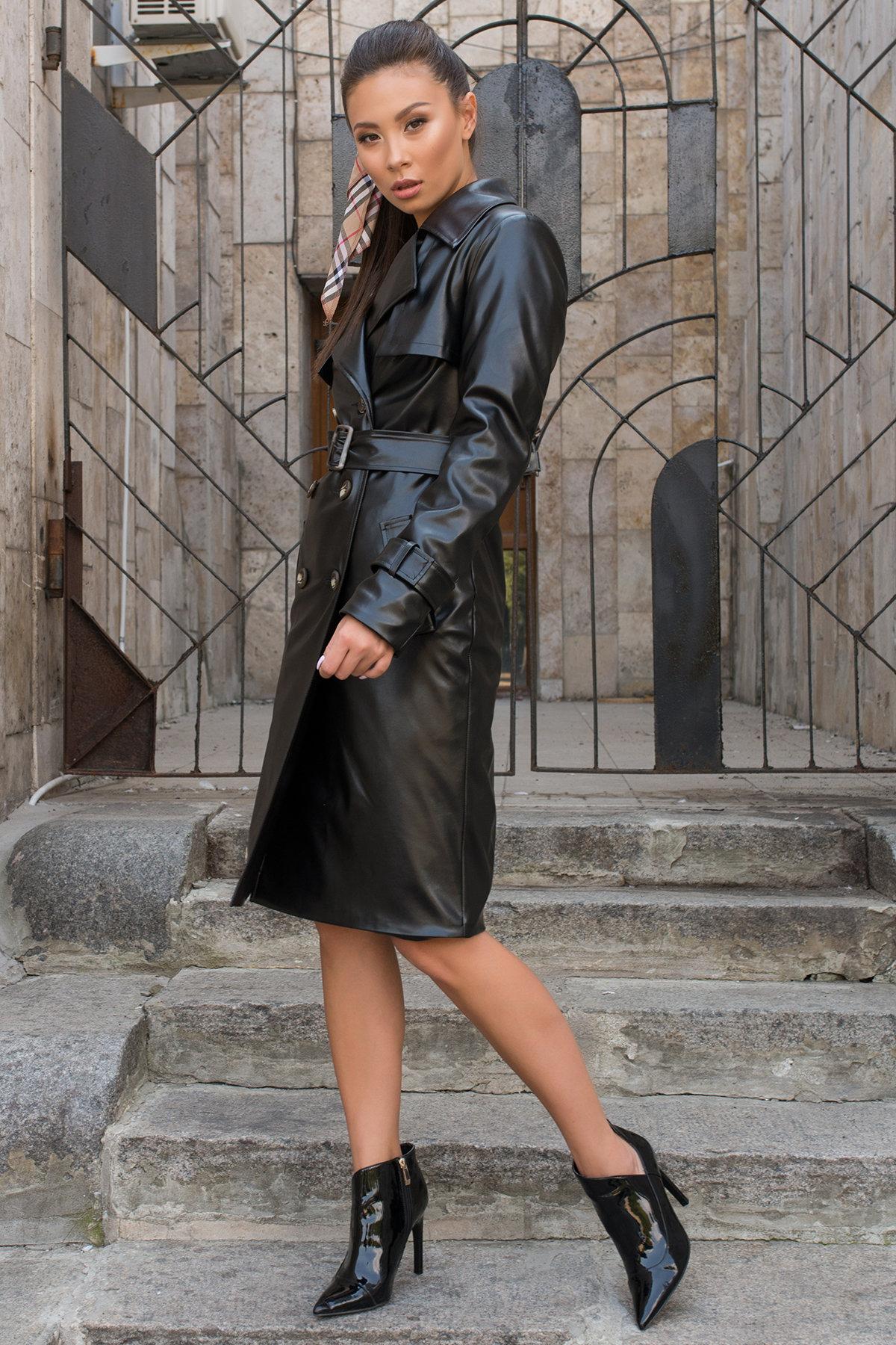 Пальто-тренч из экокожи Аккорд 7996 АРТ. 43950 Цвет: Черный - фото 2, интернет магазин tm-modus.ru