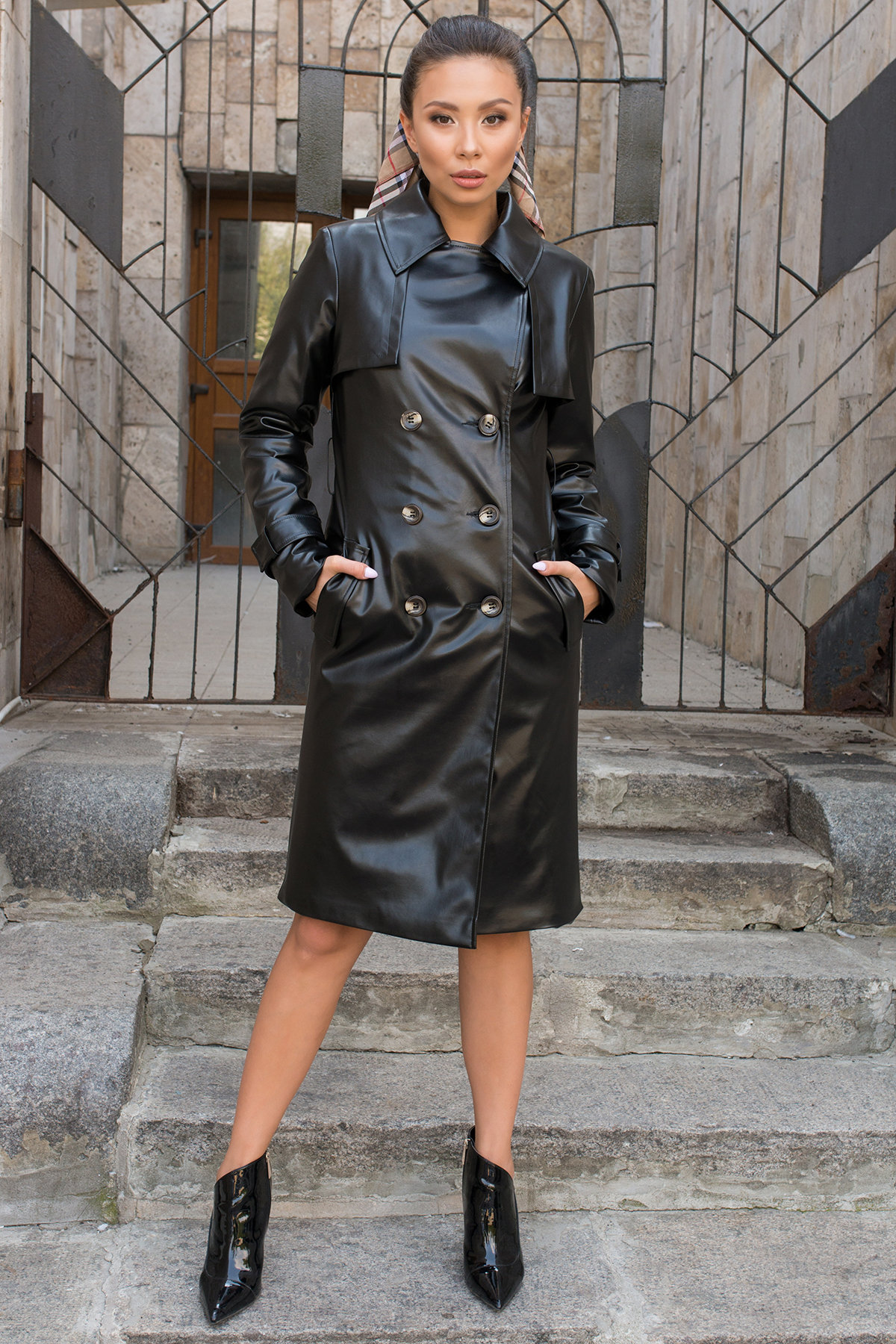 Пальто-тренч из экокожи Аккорд 7996 АРТ. 43950 Цвет: Черный - фото 3, интернет магазин tm-modus.ru