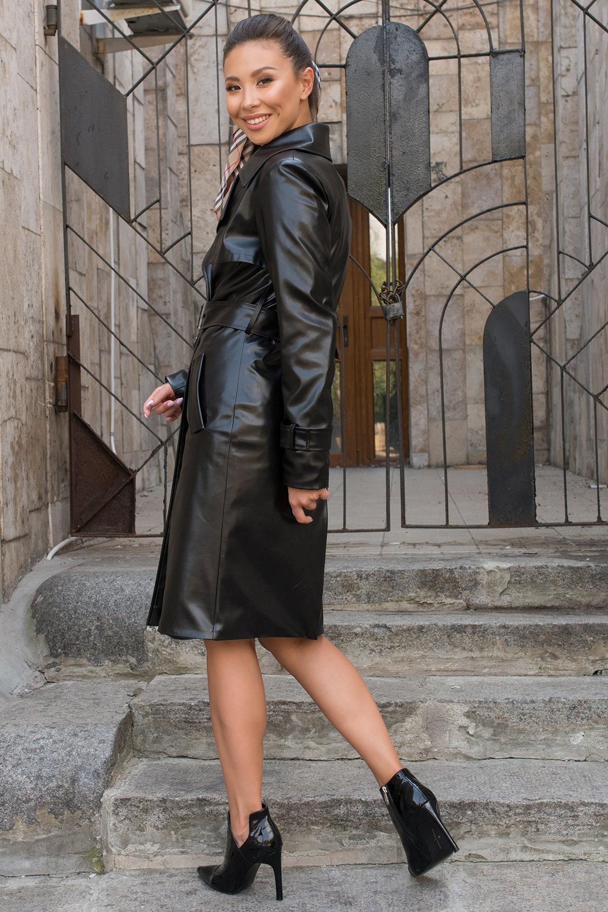 Пальто-тренч из экокожи Аккорд 7996 АРТ. 43950 Цвет: Черный - фото 5, интернет магазин tm-modus.ru