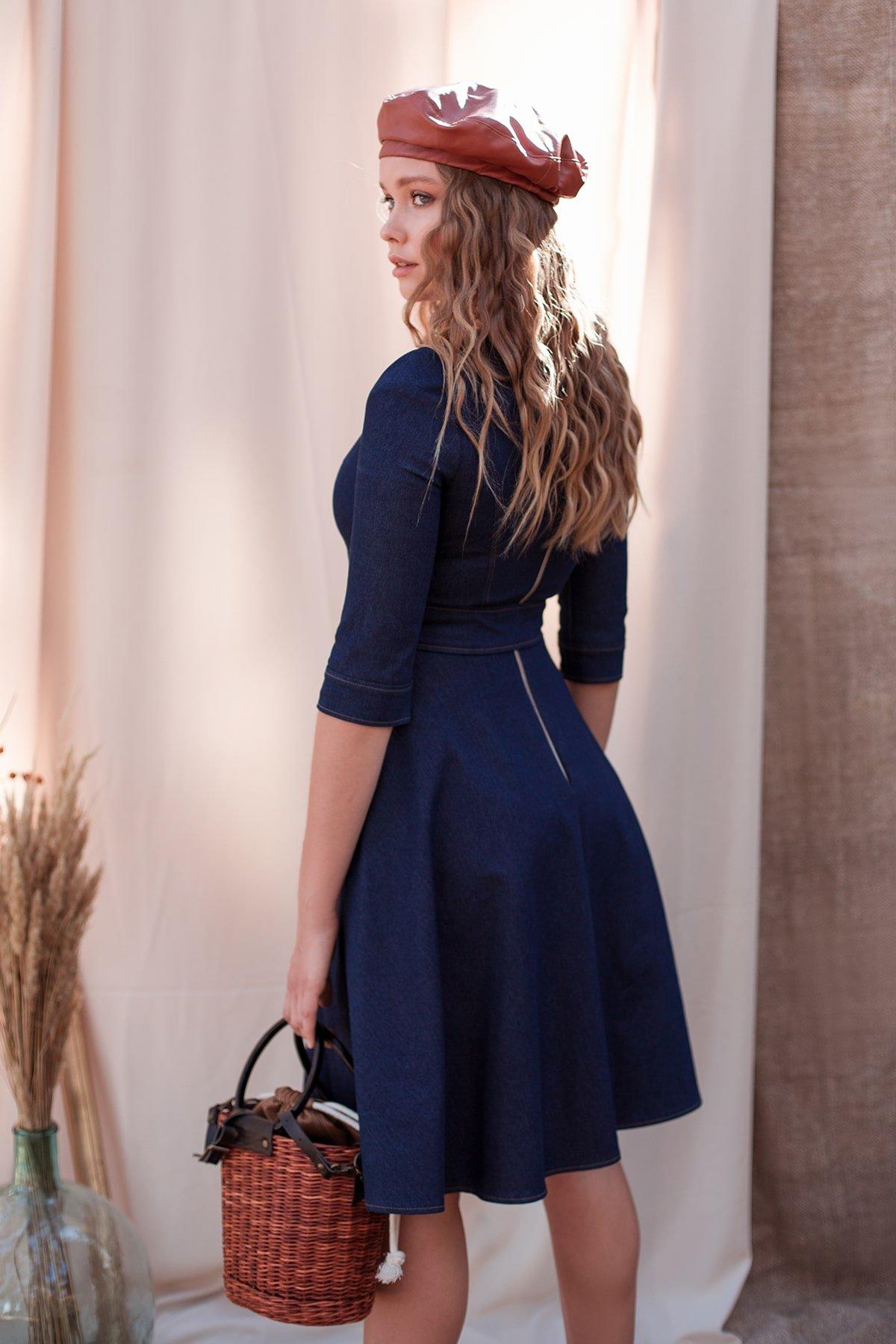 Повседневное платье джинс темный Лелли 7992 Цвет: Джинс синий