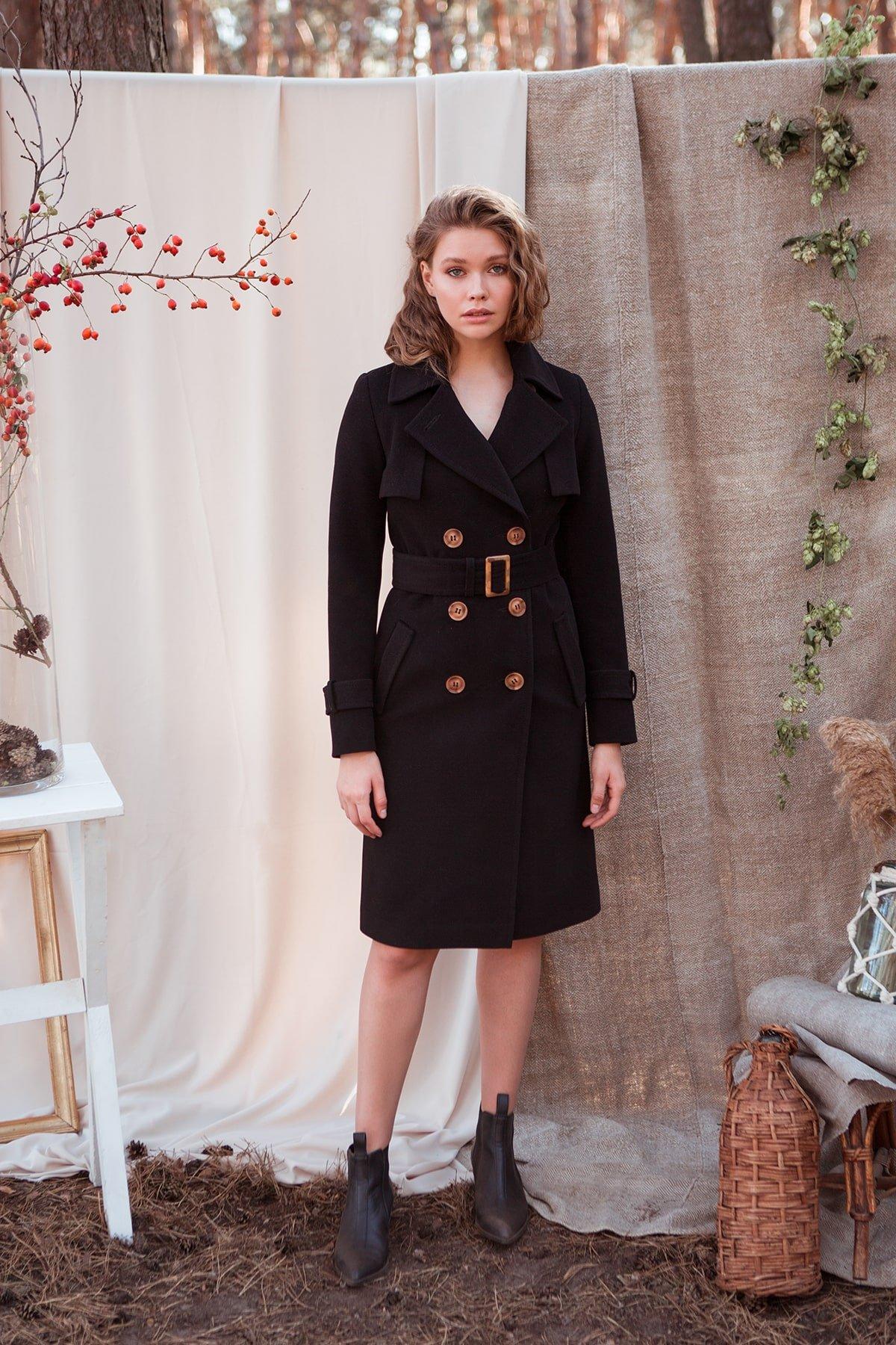 Черное двубортное пальто Монте 7947 АРТ. 43907 Цвет: Черный - фото 2, интернет магазин tm-modus.ru