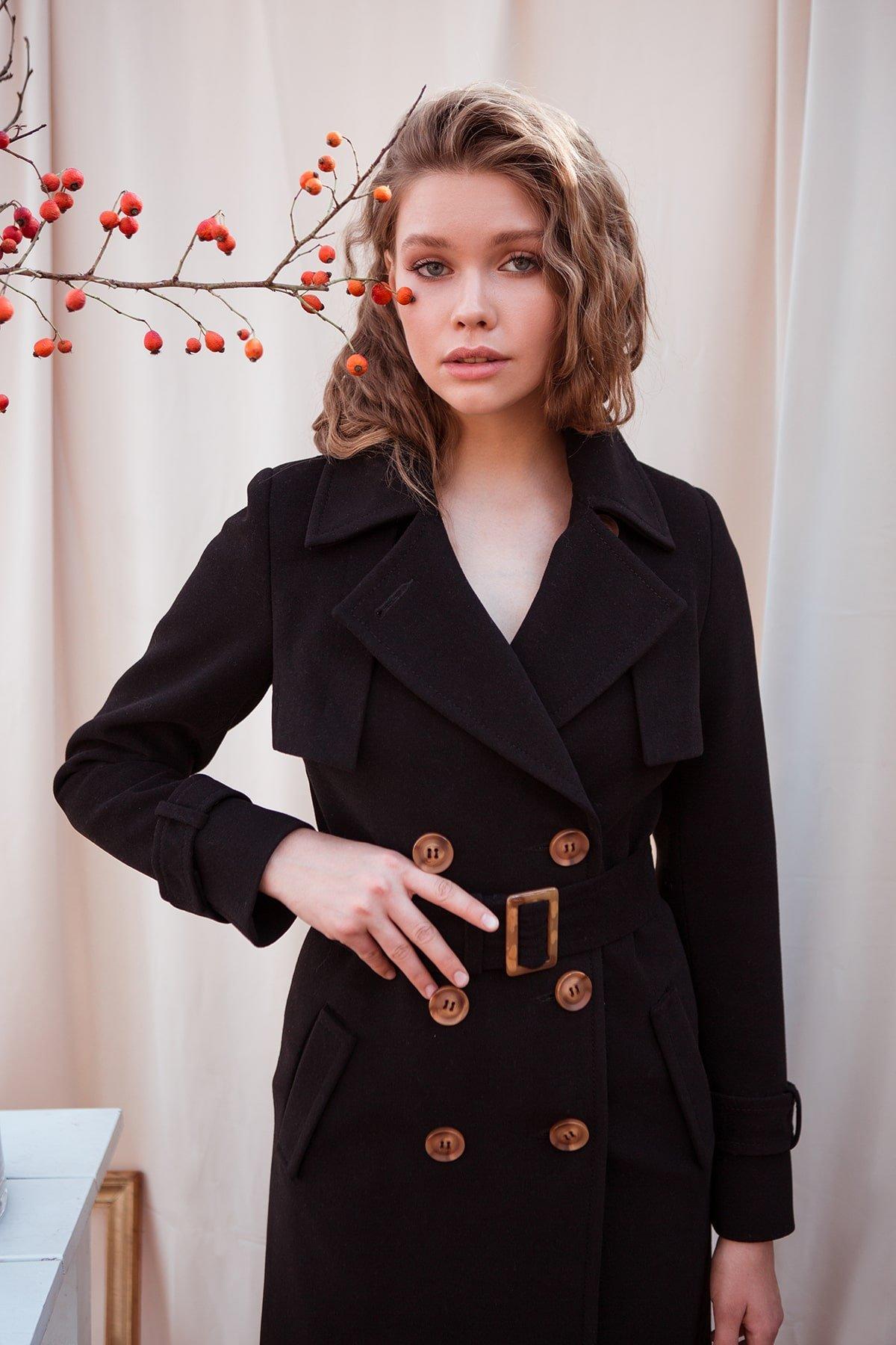 Черное двубортное пальто Монте 7947 АРТ. 43907 Цвет: Черный - фото 4, интернет магазин tm-modus.ru