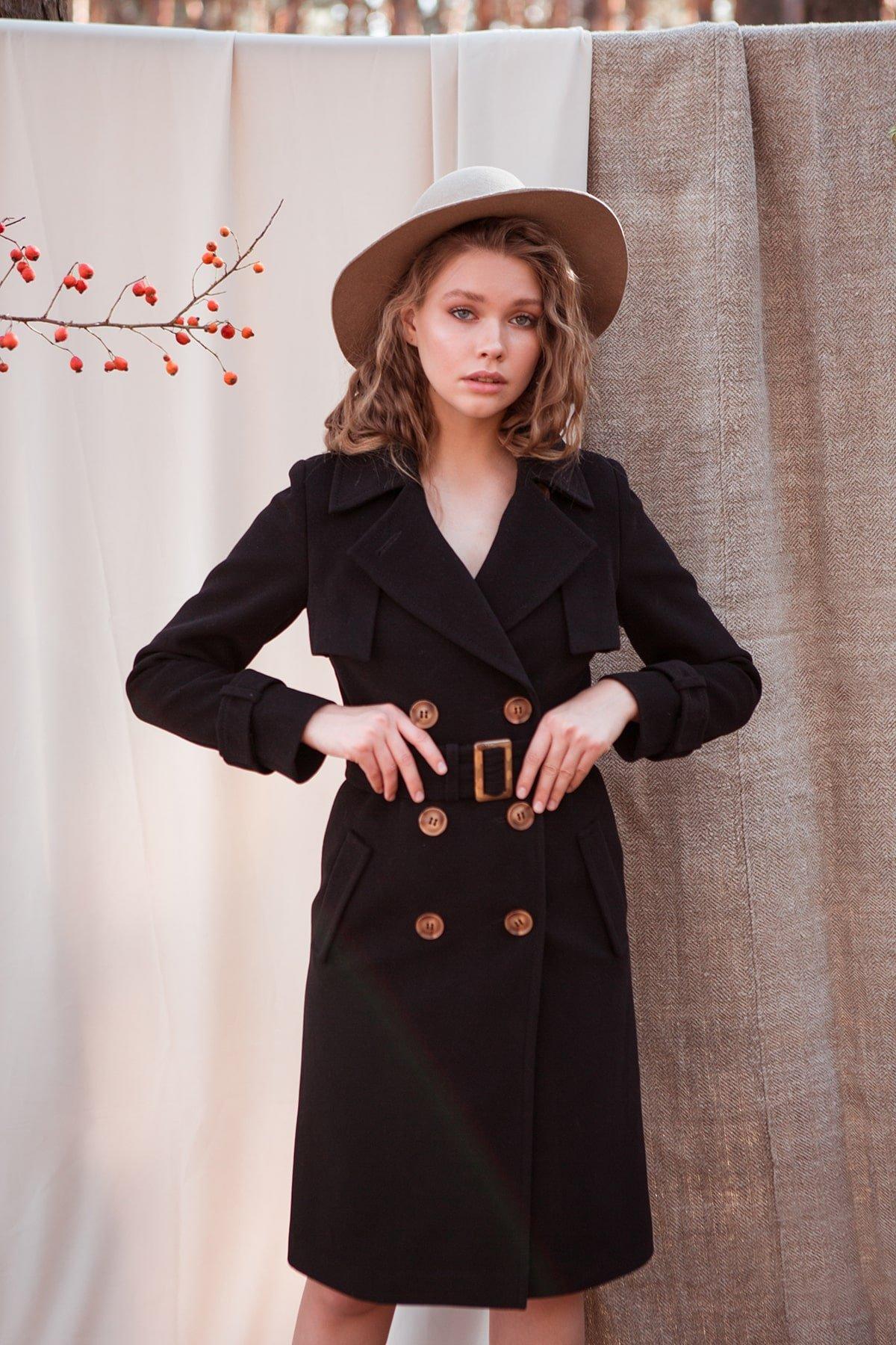 Пальто женское демисезонное интернет магазин TM Modus Черное двубортное пальто Монте 7947