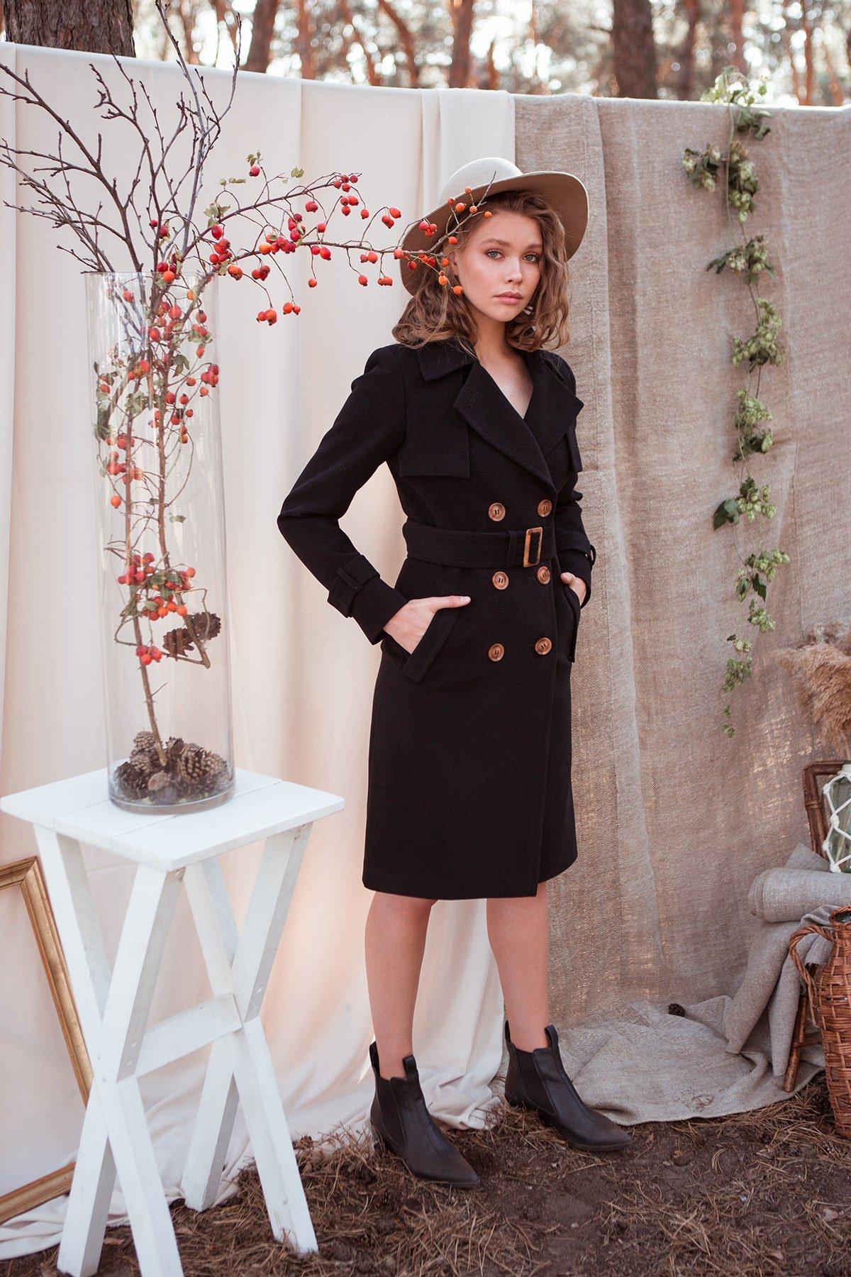 Черное двубортное пальто Монте 7947 АРТ. 43907 Цвет: Черный - фото 8, интернет магазин tm-modus.ru
