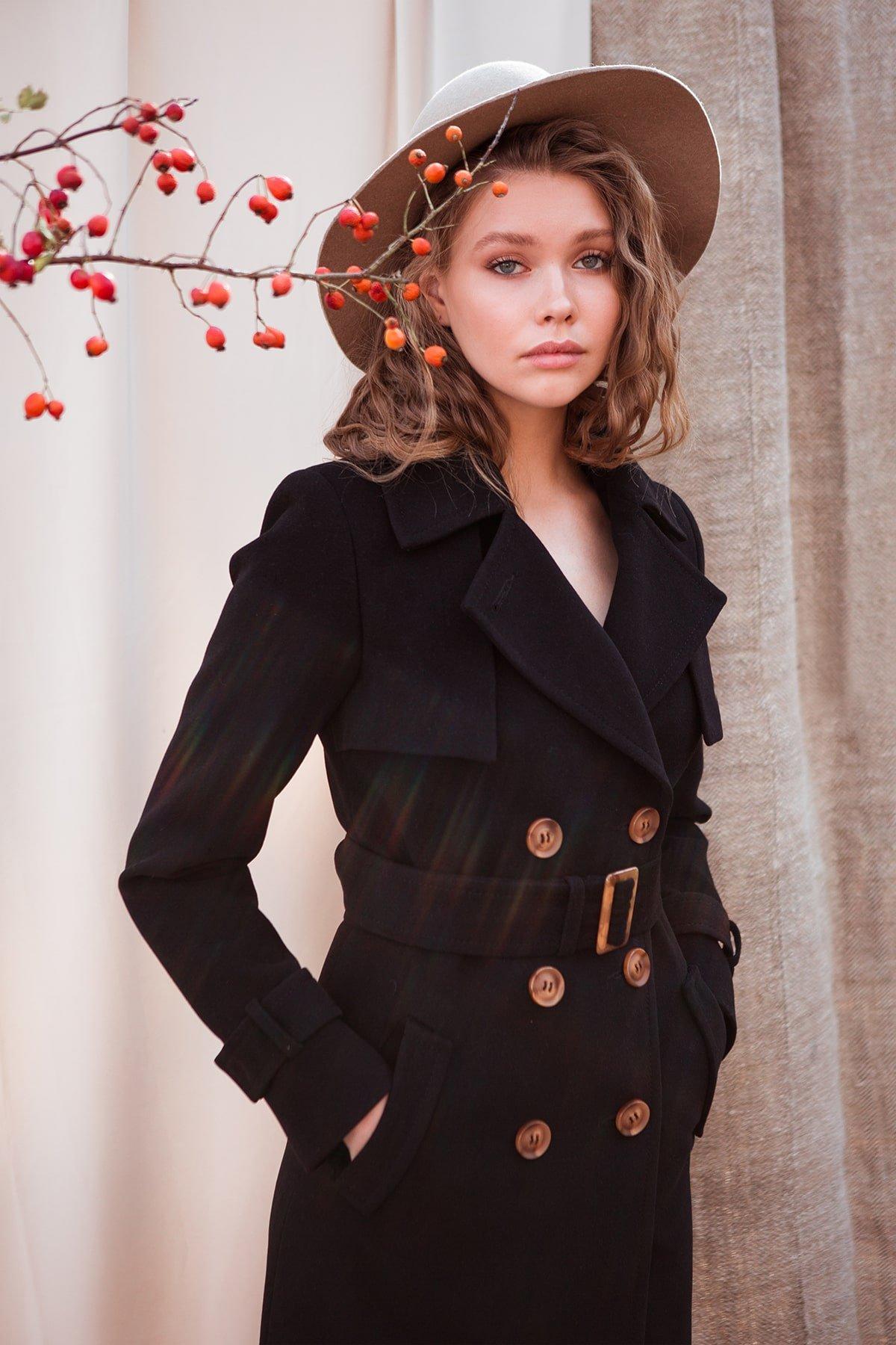 Черное двубортное пальто Монте 7947 АРТ. 43907 Цвет: Черный - фото 10, интернет магазин tm-modus.ru