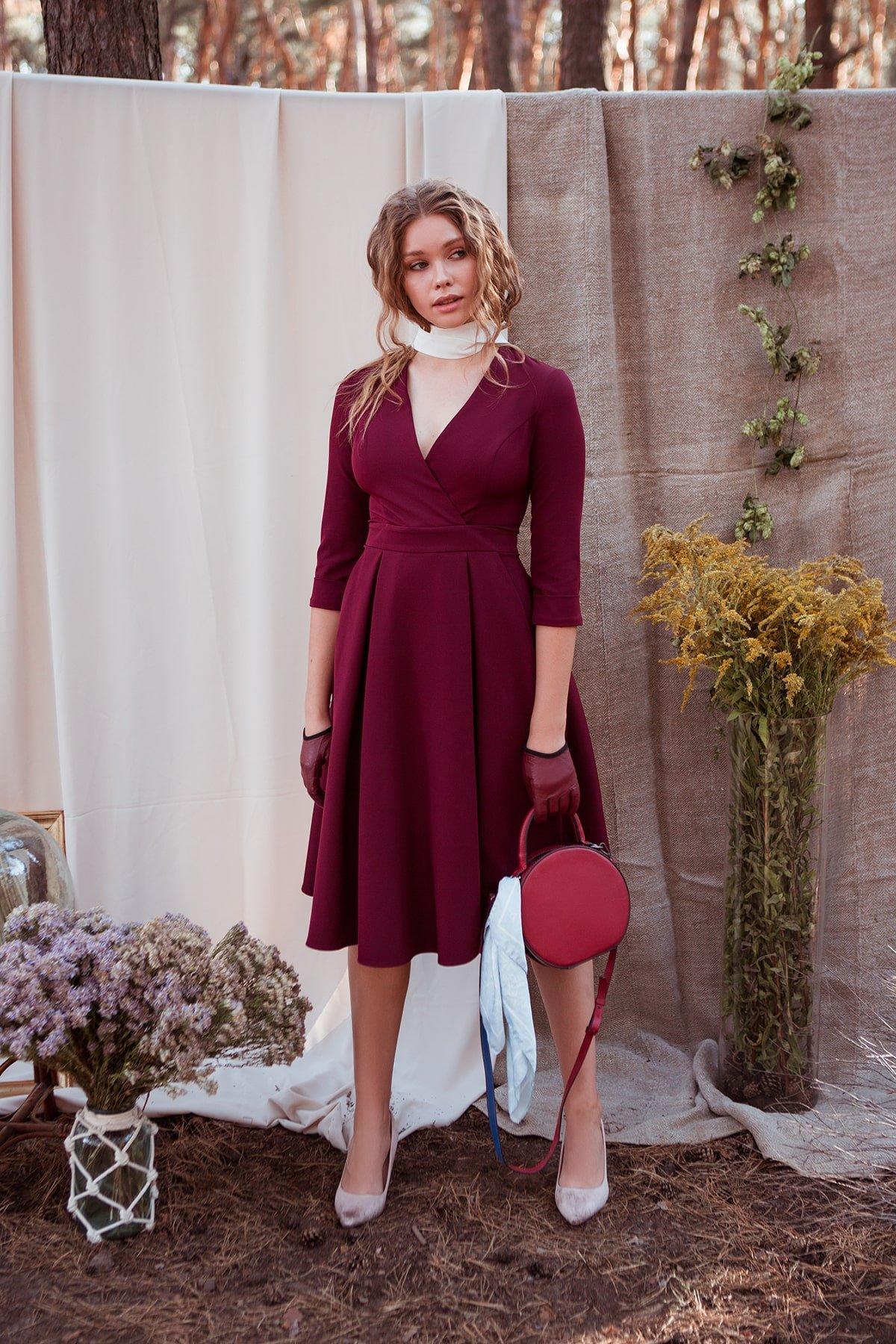 Платье с юбкой-солнце Аризона 7849 АРТ. 43843 Цвет: Винный - фото 2, интернет магазин tm-modus.ru