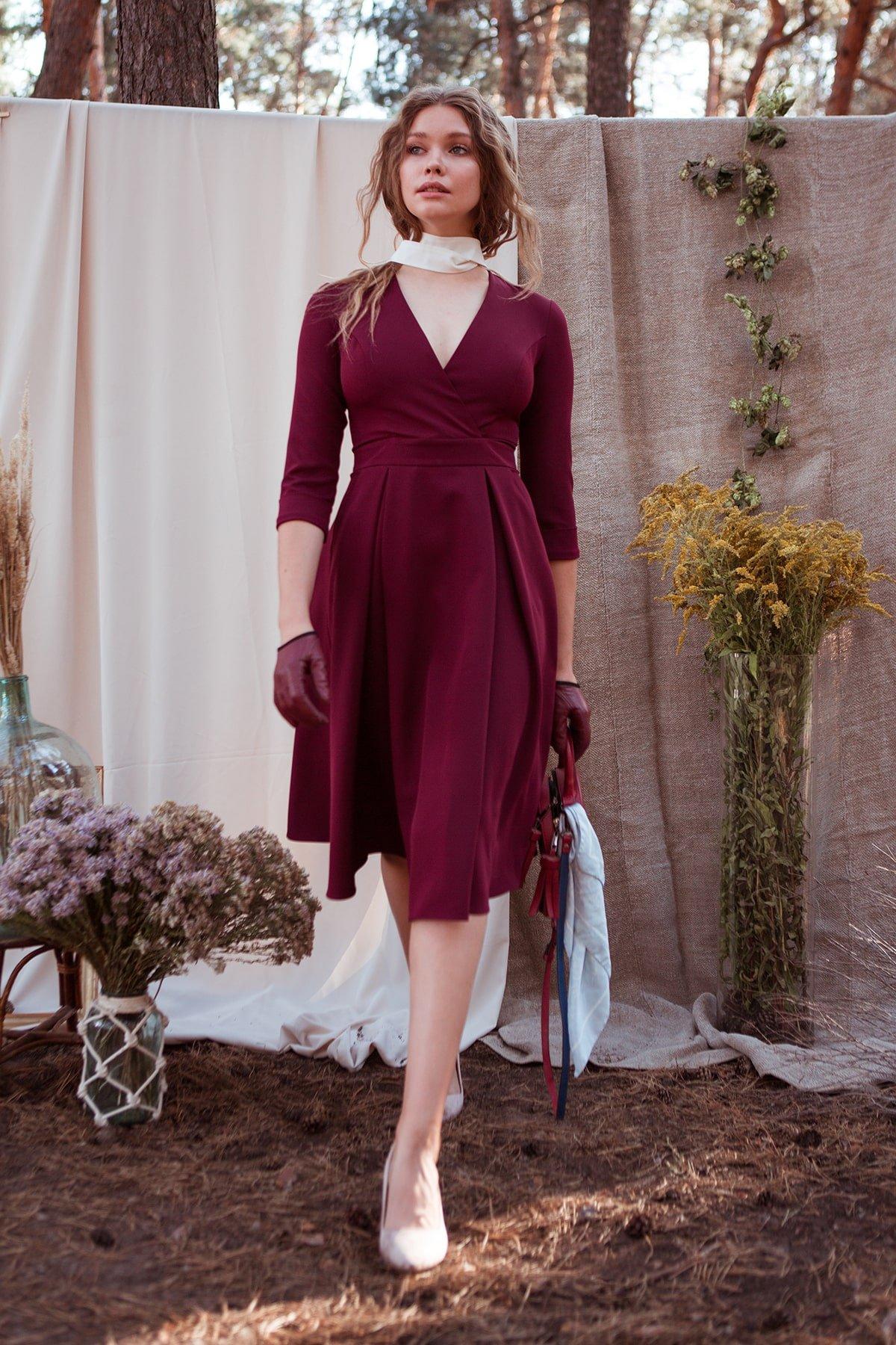 Платье с юбкой-солнце Аризона 7849 АРТ. 43843 Цвет: Винный - фото 4, интернет магазин tm-modus.ru