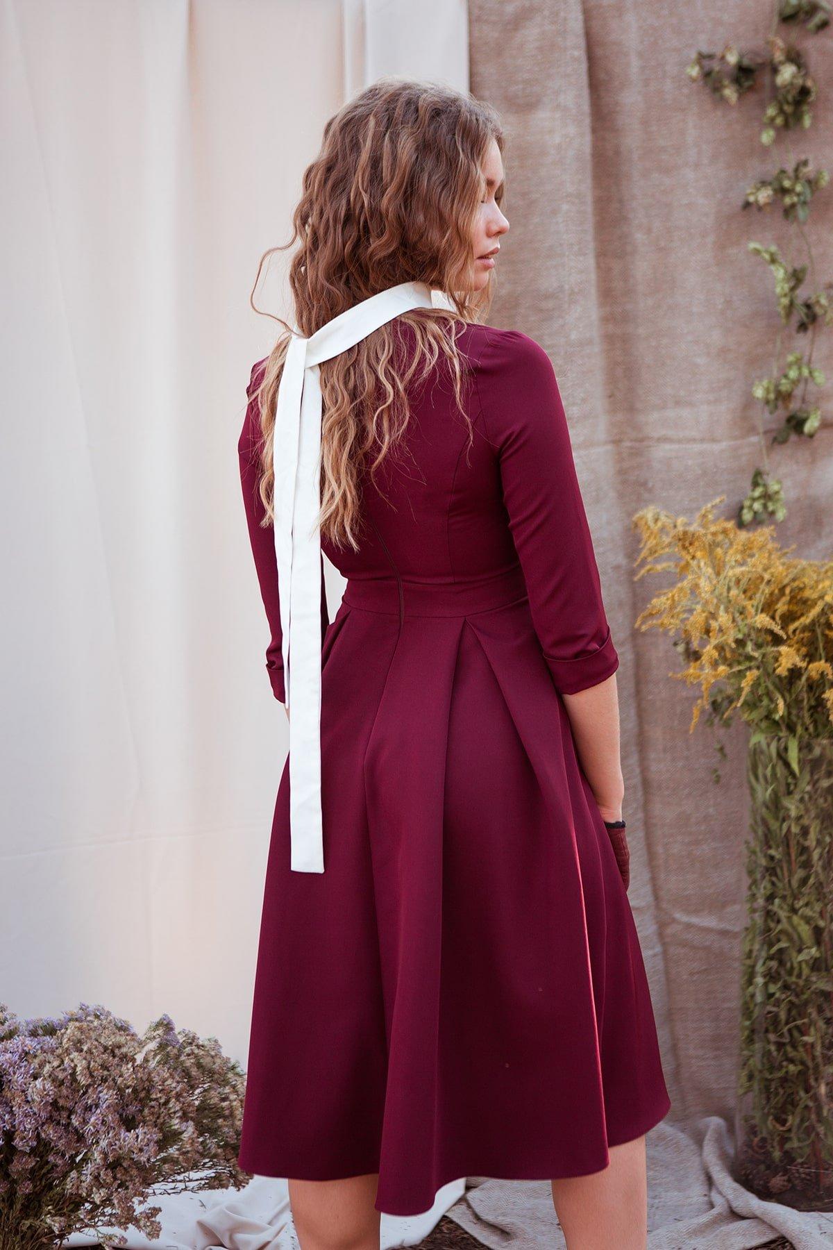 Платье с юбкой-солнце Аризона 7849 АРТ. 43843 Цвет: Винный - фото 8, интернет магазин tm-modus.ru