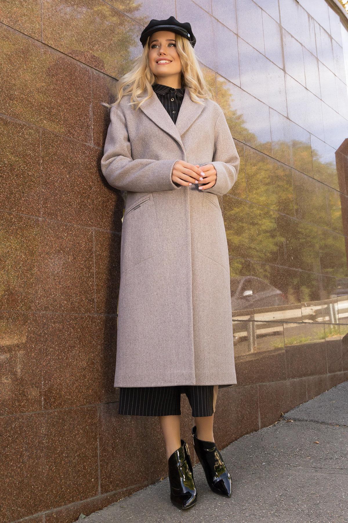 Пальто осенние полуприталенного кроя Ждана лайт макси 6379 Цвет: Капучино 10