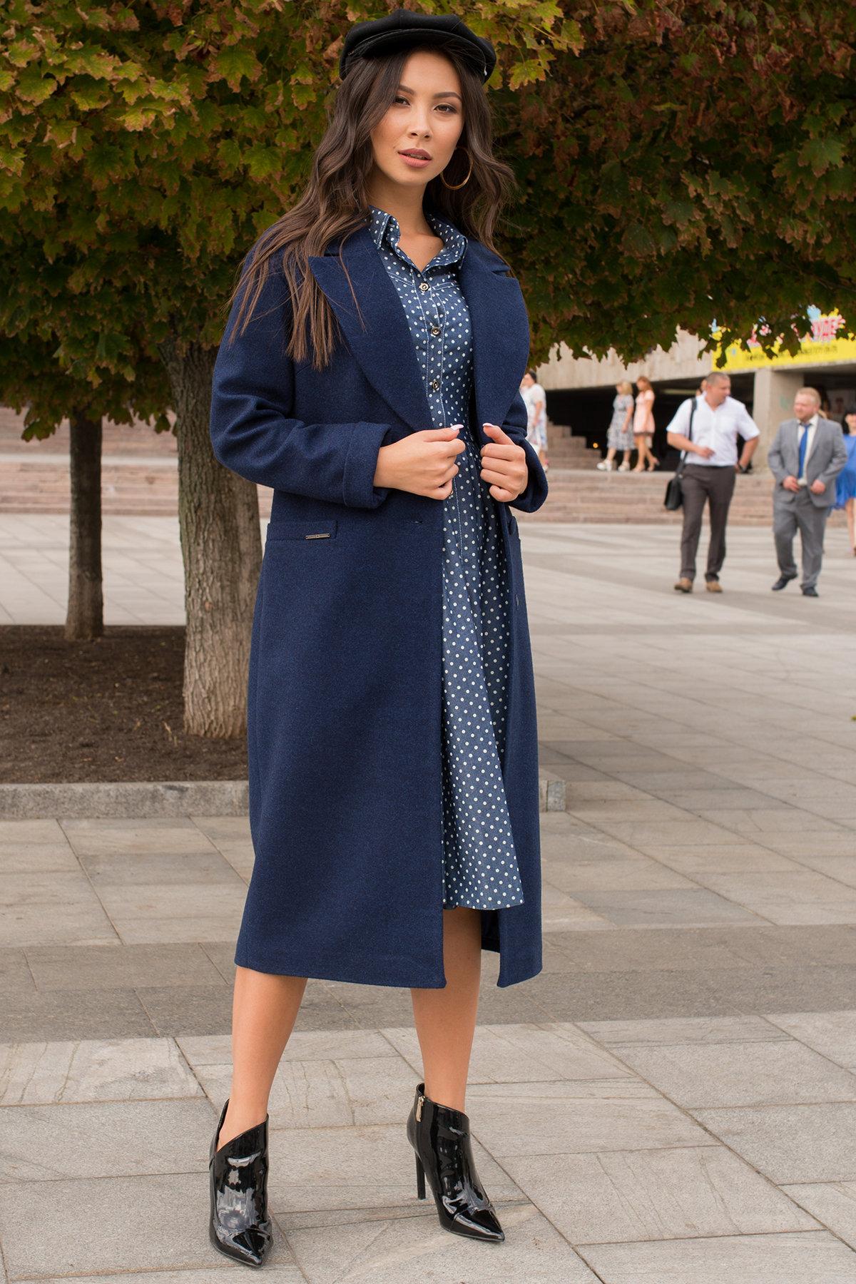 Демисезонное пальто с прорезными карманами Вива 6378 Цвет: Т.синий 17