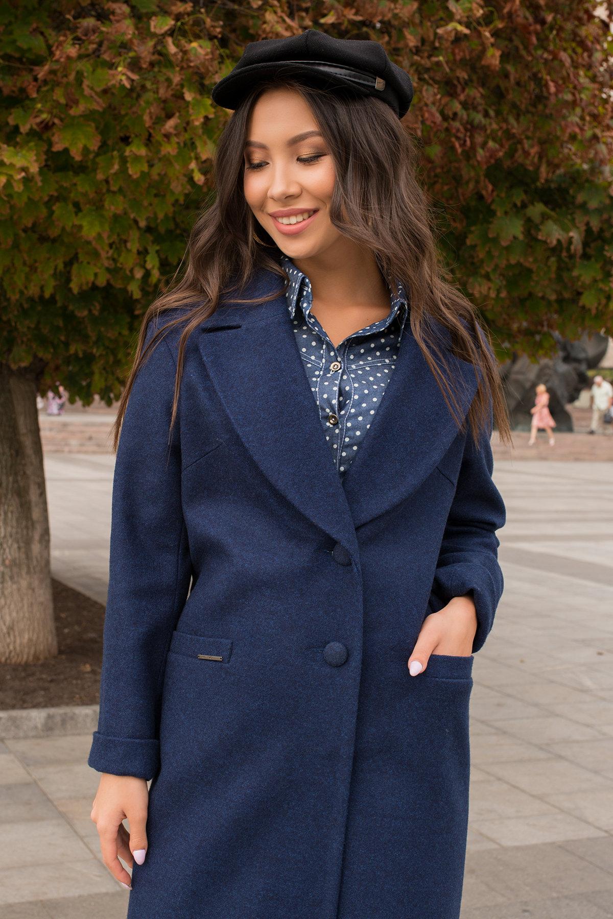 Демисезонное пальто с прорезными карманами Вива 6378 АРТ. 41258 Цвет: Т.синий 17 - фото 3, интернет магазин tm-modus.ru