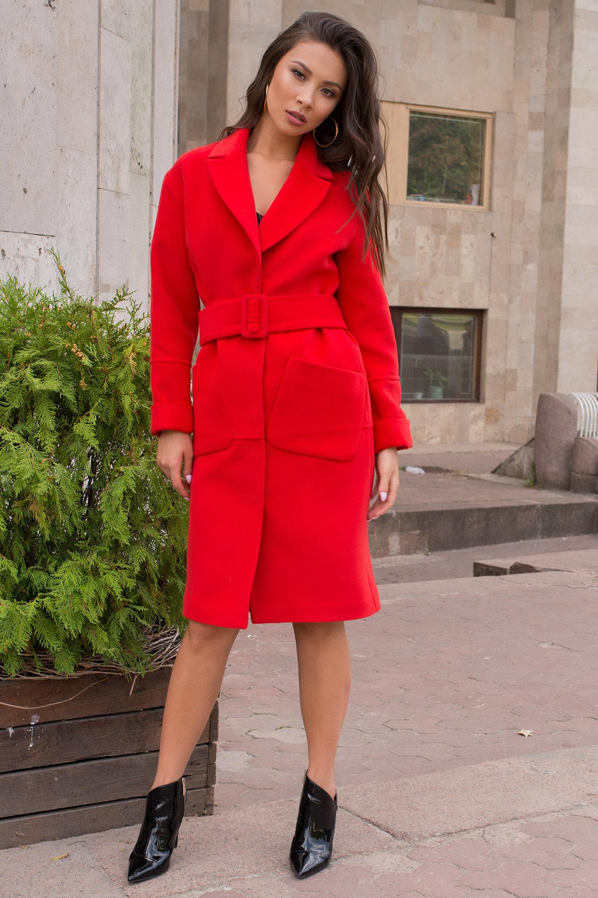 Ярко красное пальто для межсезонья Флорида 7990 Цвет: Красный