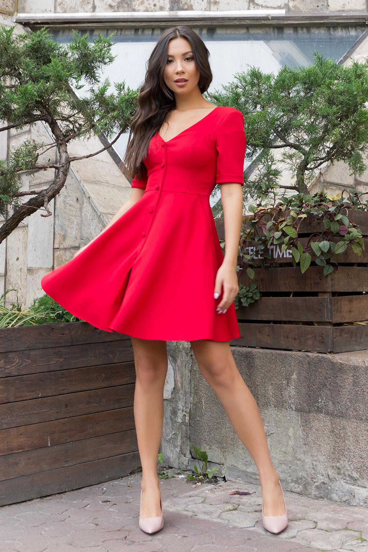 Стильное платья на пуговицах Фернанда 7848 АРТ. 43751 Цвет: Красный - фото 3, интернет магазин tm-modus.ru