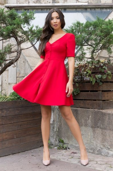 Стильное платья на пуговицах Фернанда 7848 Цвет: Красный