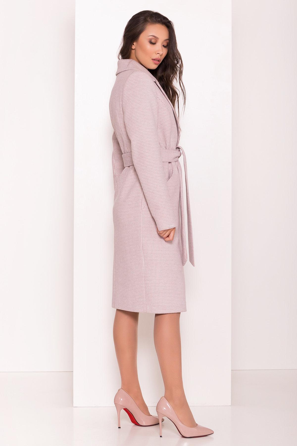Стильное женское пальто с принтом Мехико 7831 АРТ. 43714 Цвет: Гусиные лапки/беж/молоко - фото 2, интернет магазин tm-modus.ru