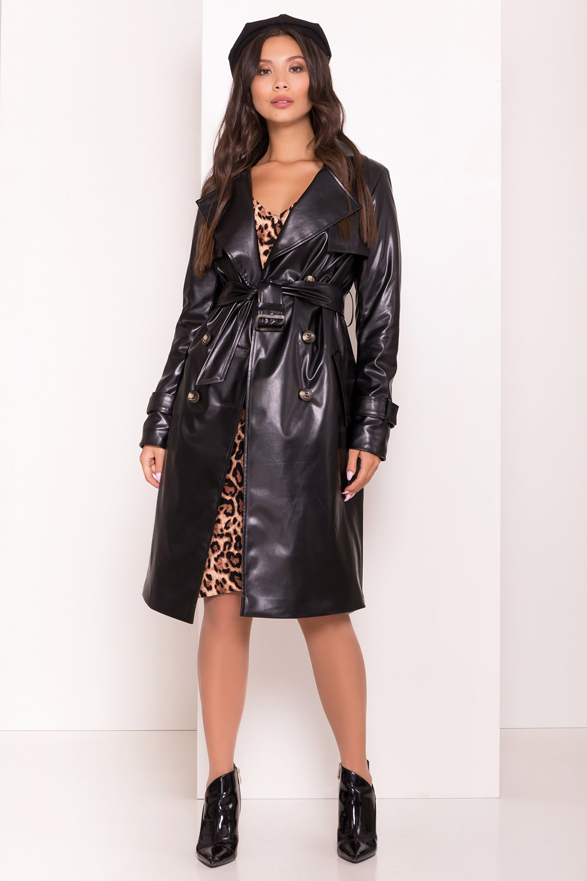 Пальто-тренч из экокожи Аккорд 7996 АРТ. 43950 Цвет: Черный - фото 1, интернет магазин tm-modus.ru