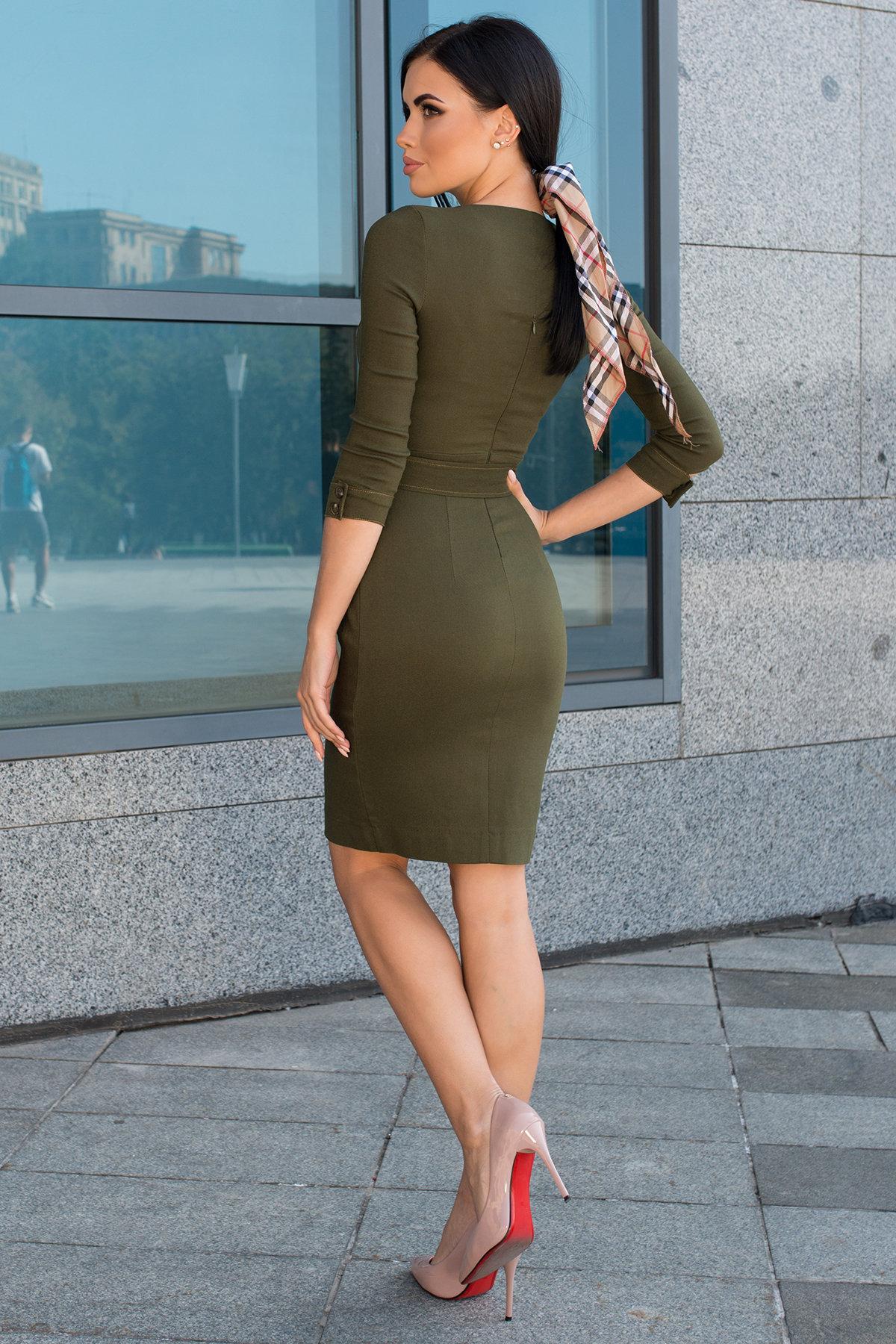 Платье-футляр Марсель 7656 АРТ. 43747 Цвет: Хаки - фото 4, интернет магазин tm-modus.ru