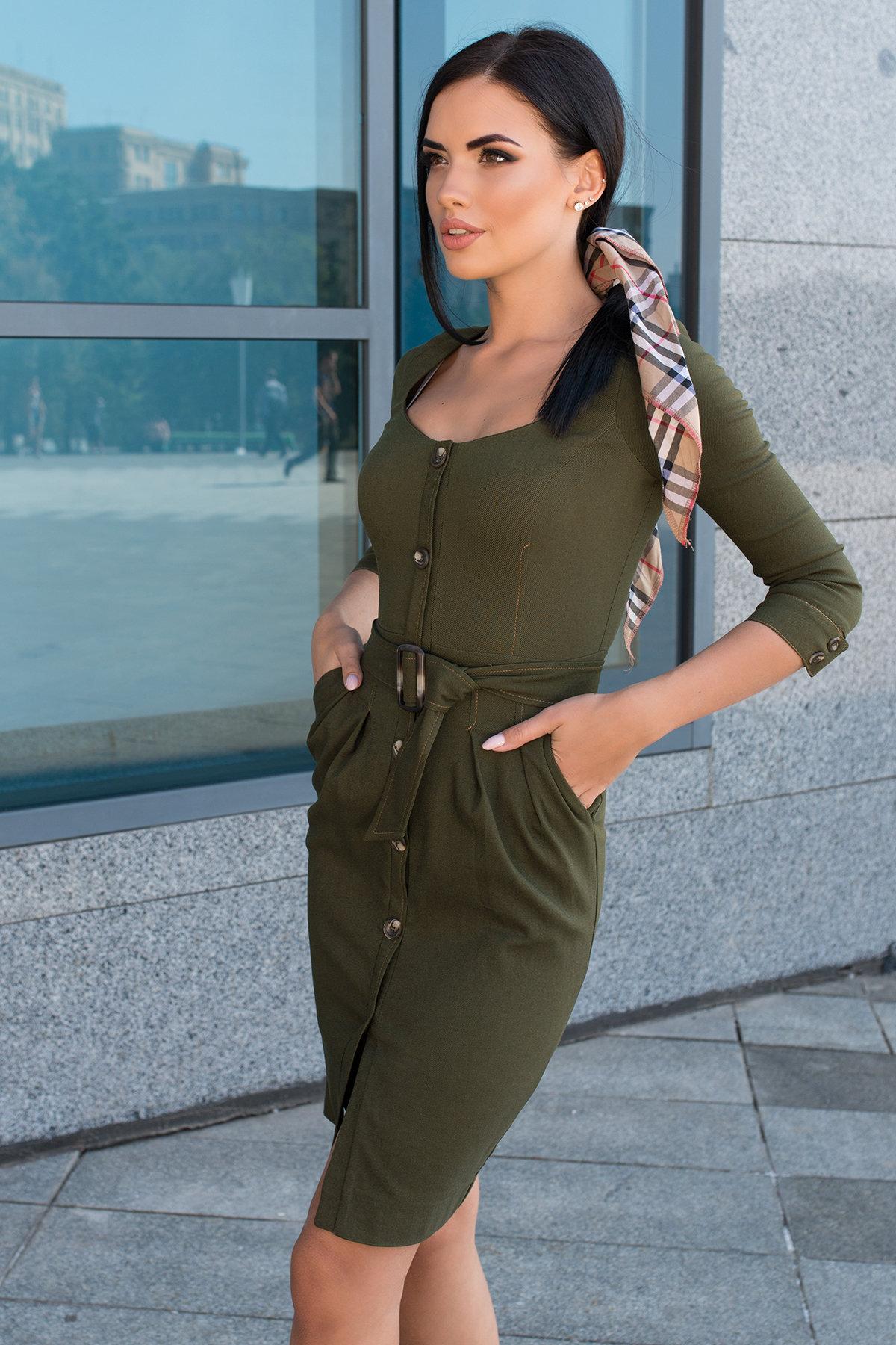 Платье-футляр Марсель 7656 АРТ. 43747 Цвет: Хаки - фото 6, интернет магазин tm-modus.ru