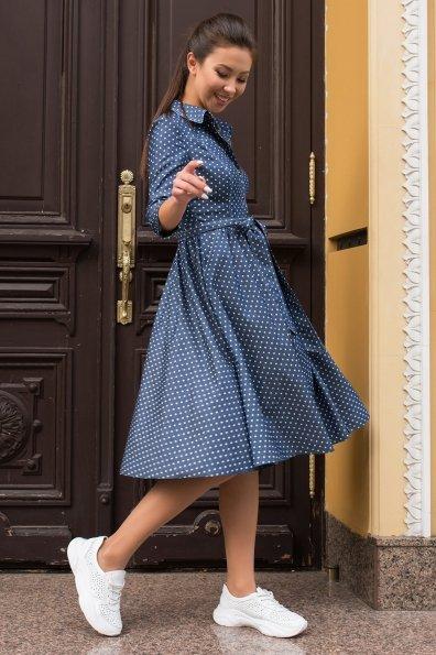 Платье цвета джинс в горошек Невада  7890 Цвет: Горох джинс/мол