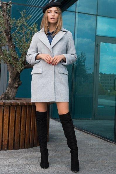 Элегантное пальто на осень с поясом Моле 7955 Цвет: Серый Светлый 33