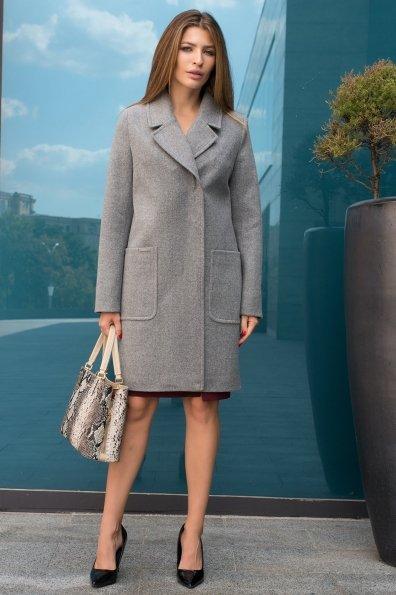 Демисезонное пальто с карманами Мила 8042 Цвет: Серый 18