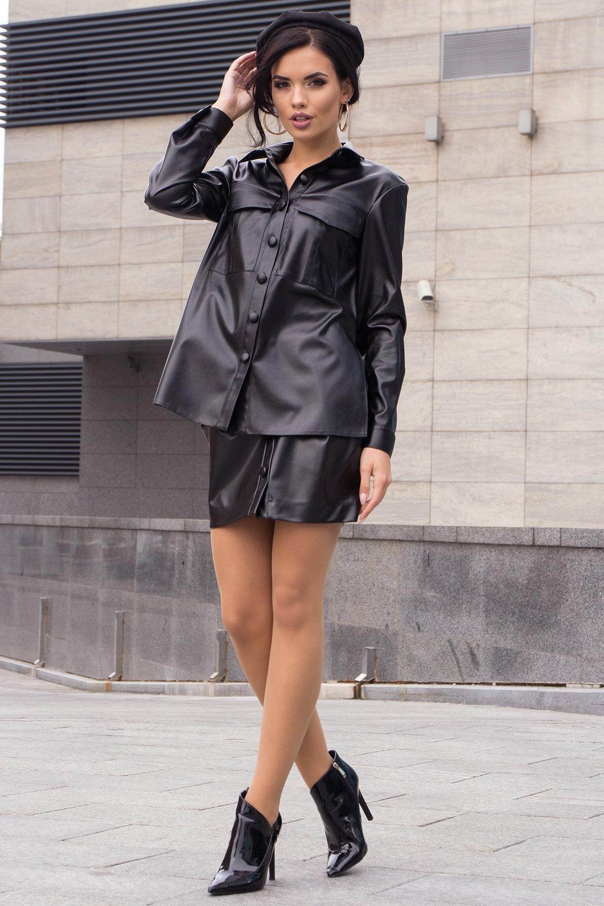 Стильный женский костюм из экокожи Телави 8092 Цвет: чёрный