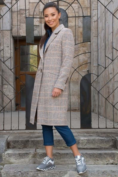 Пальто с принтом клетка Эрли 8103 Цвет: Клетка кр шок/мол/беж