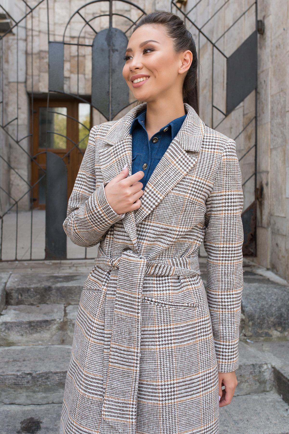 Пальто с принтом клетка Эрли 8103 АРТ. 44066 Цвет: Клетка кр шок/мол/беж - фото 4, интернет магазин tm-modus.ru