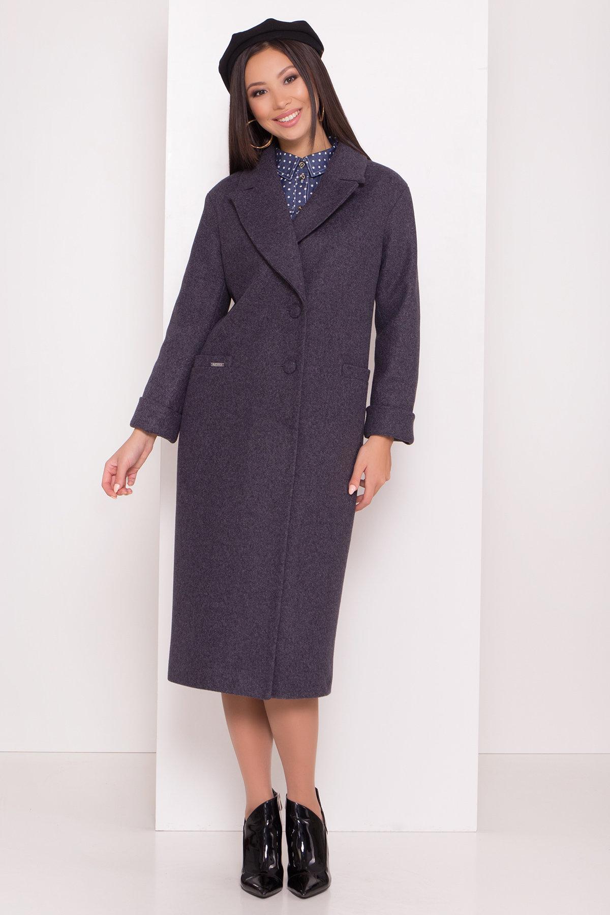 Стильное осенние пальто ниже колен с поясом Вива 8108 Цвет: т. синий 543