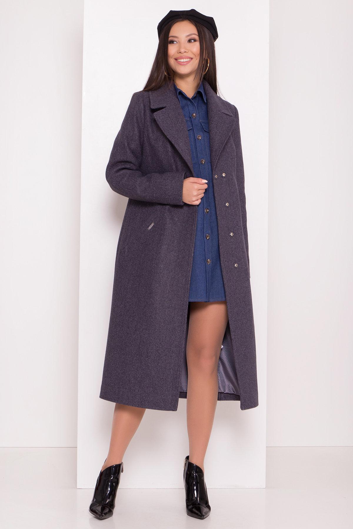 Пальто с английским воротником Миссури макси 8107 АРТ. 44054 Цвет: Т.синий 543 - фото 1, интернет магазин tm-modus.ru