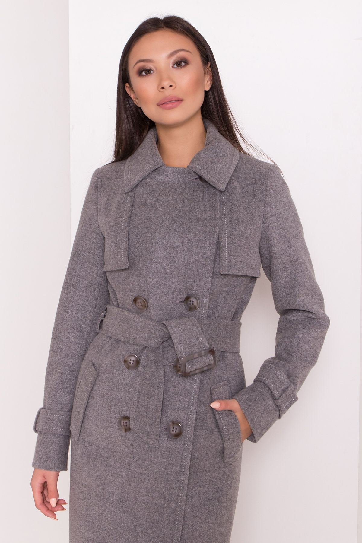 Элегантное пальто со съемным поясом Монте 8087 АРТ. 44029 Цвет: Серый 18 - фото 5, интернет магазин tm-modus.ru