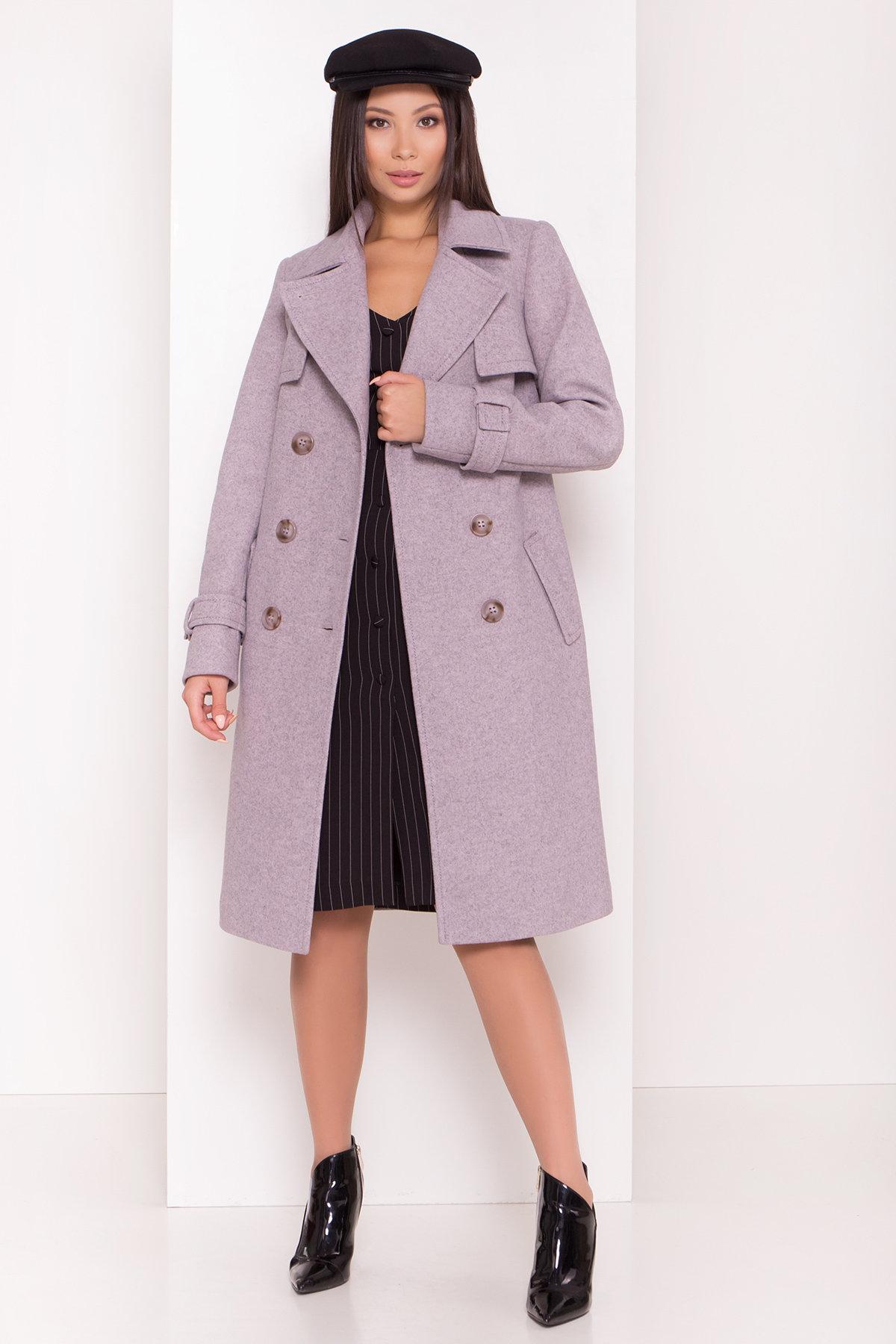 Двубортное пальто демисезон Монте 8089 АРТ. 44031 Цвет: Серый-розовый - фото 1, интернет магазин tm-modus.ru