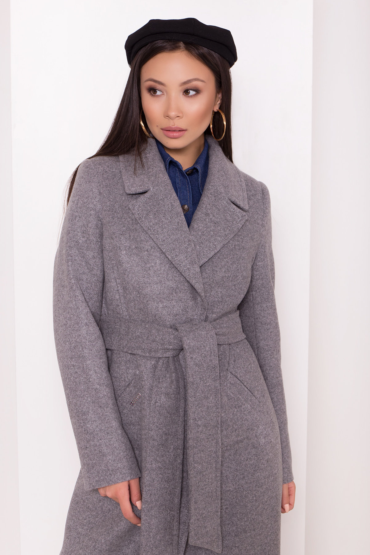 Пальто на осень Миссури макси 8106 Цвет: Серый 1