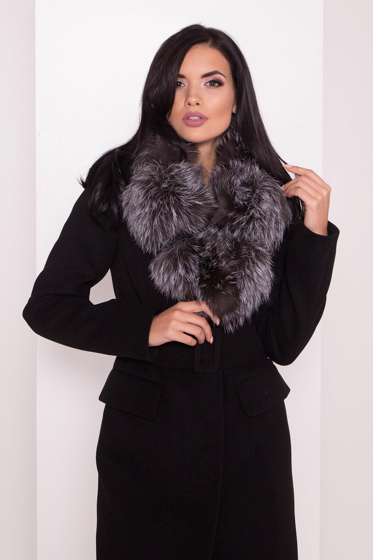 Зимнее пальто с меховым воротником Лабио 8150 АРТ. 44107 Цвет: Черный Н-1 - фото 2, интернет магазин tm-modus.ru