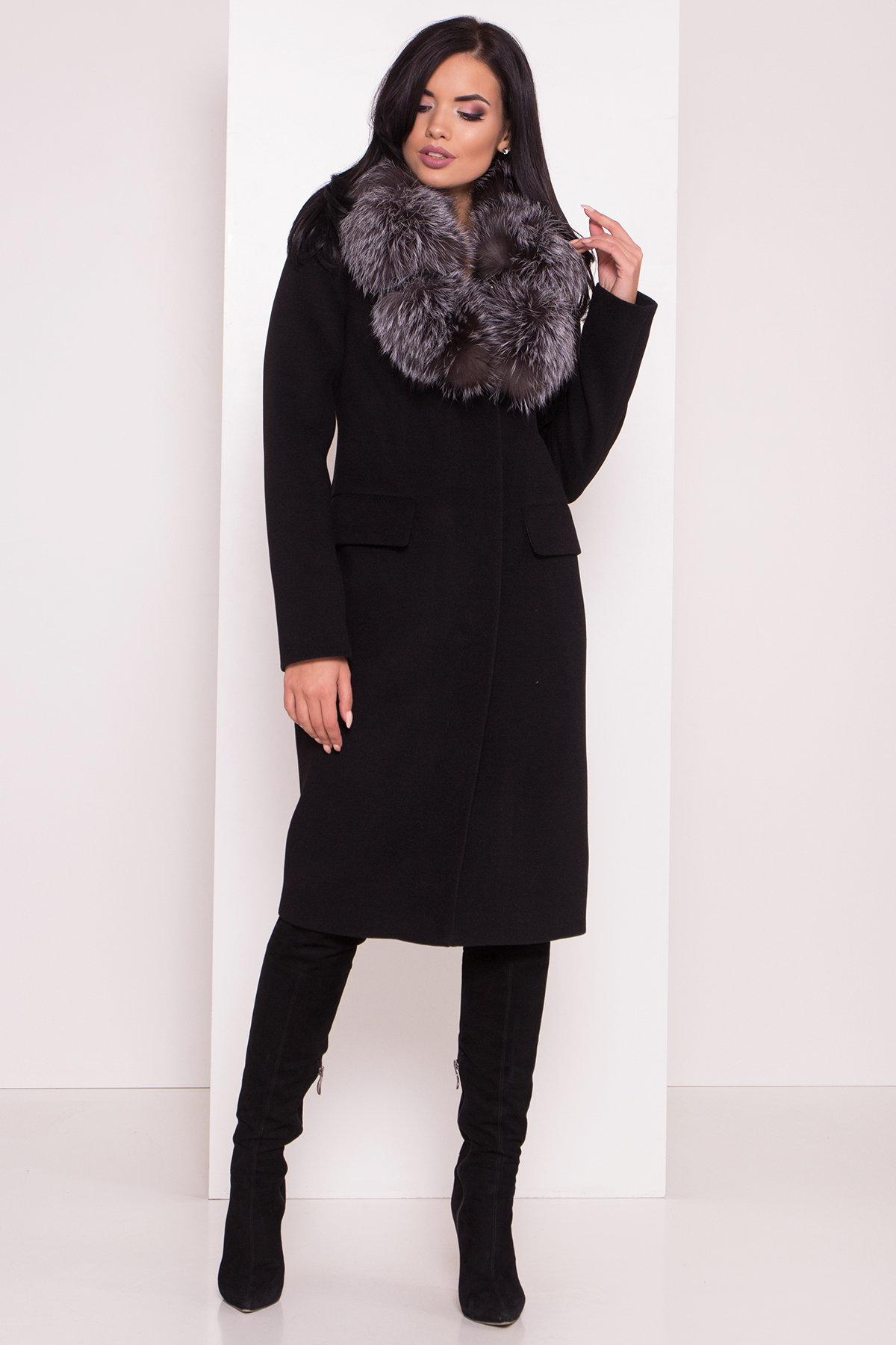 Зимнее пальто с меховым воротником Лабио 8150 АРТ. 44107 Цвет: Черный Н-1 - фото 3, интернет магазин tm-modus.ru