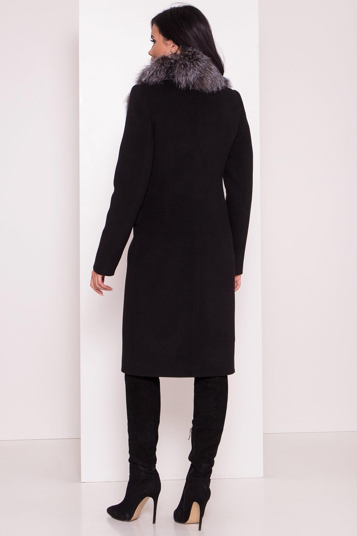 Зимнее пальто с меховым воротником Лабио 8150 АРТ. 44107 Цвет: Черный Н-1 - фото 4, интернет магазин tm-modus.ru