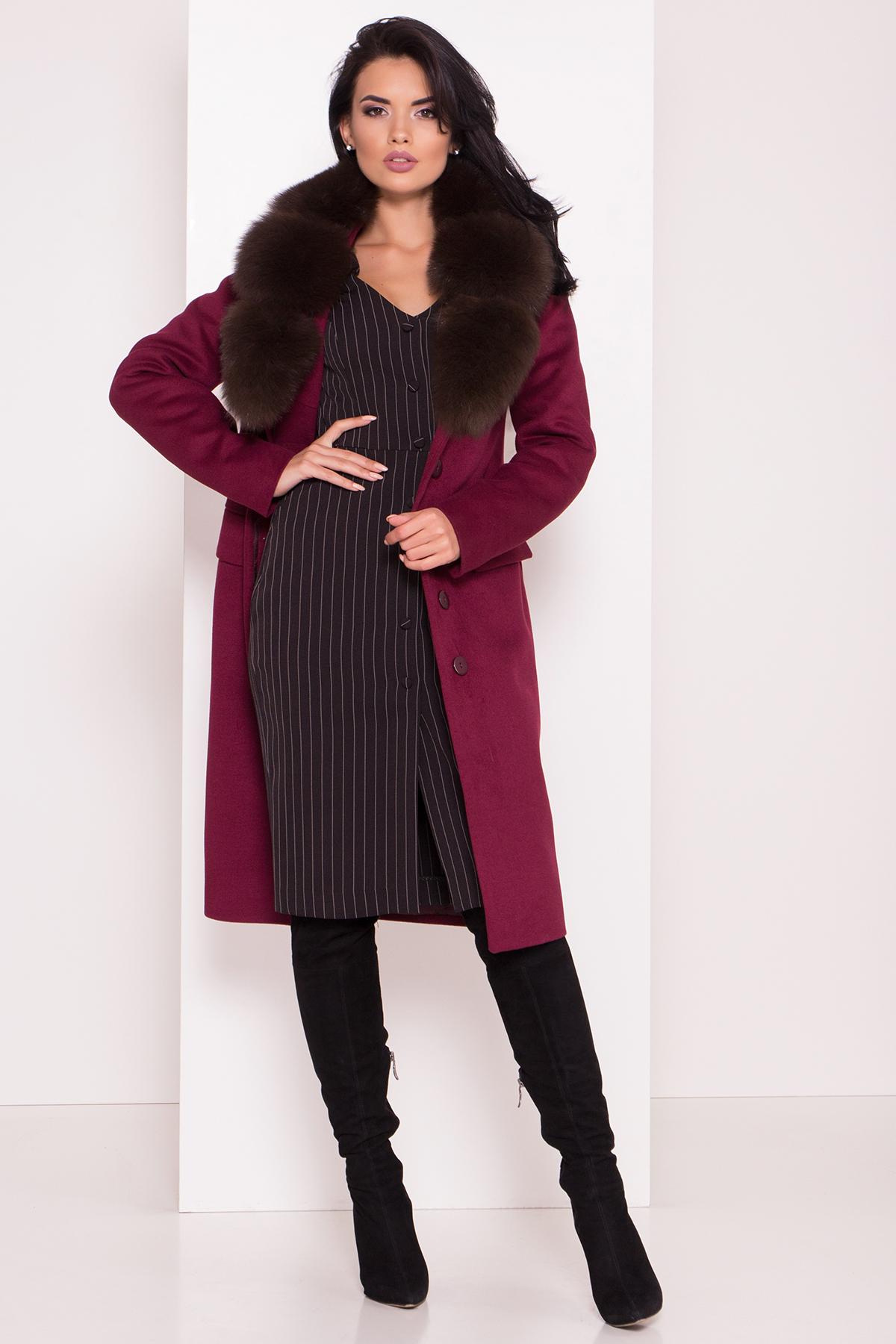 Кашемировое зимнее пальто Лабио 8154 АРТ. 44108 Цвет: Марсала 2 - фото 2, интернет магазин tm-modus.ru