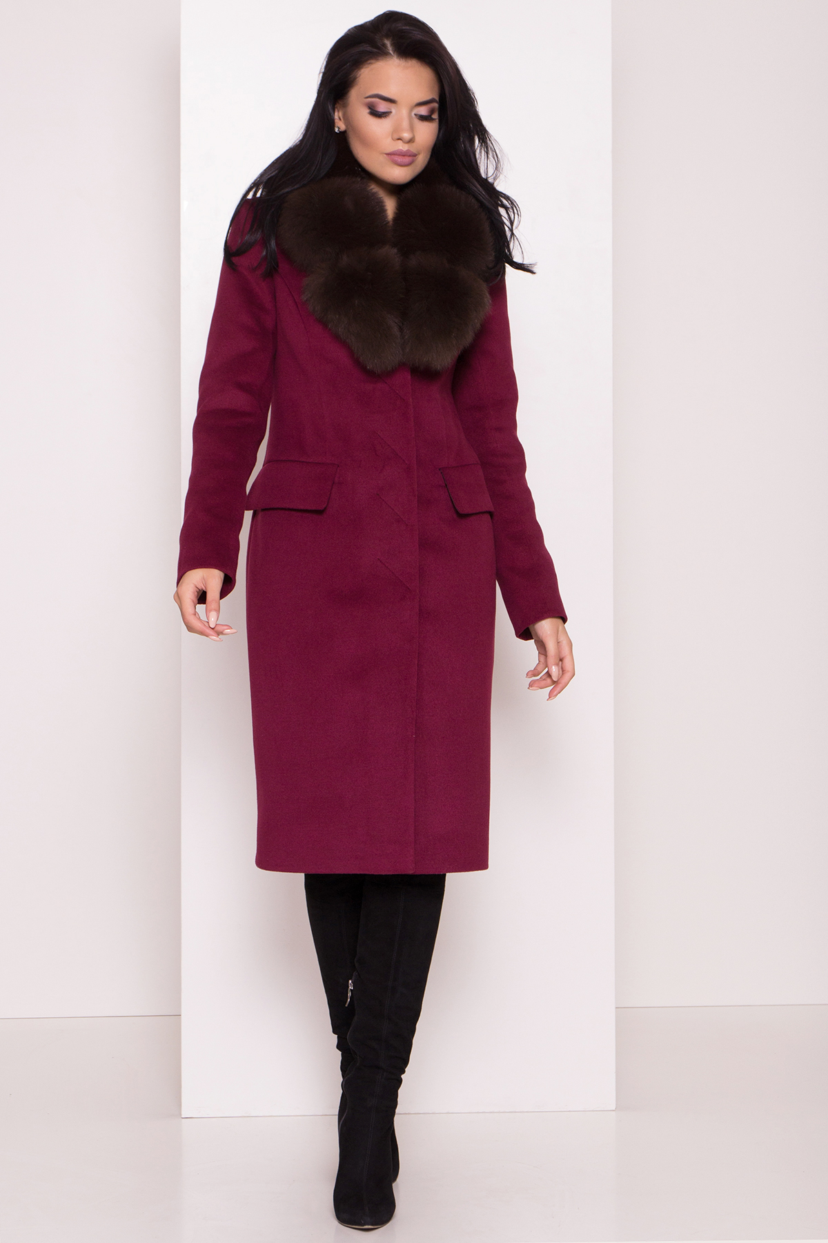 Кашемировое зимнее пальто Лабио 8154 АРТ. 44108 Цвет: Марсала 2 - фото 3, интернет магазин tm-modus.ru