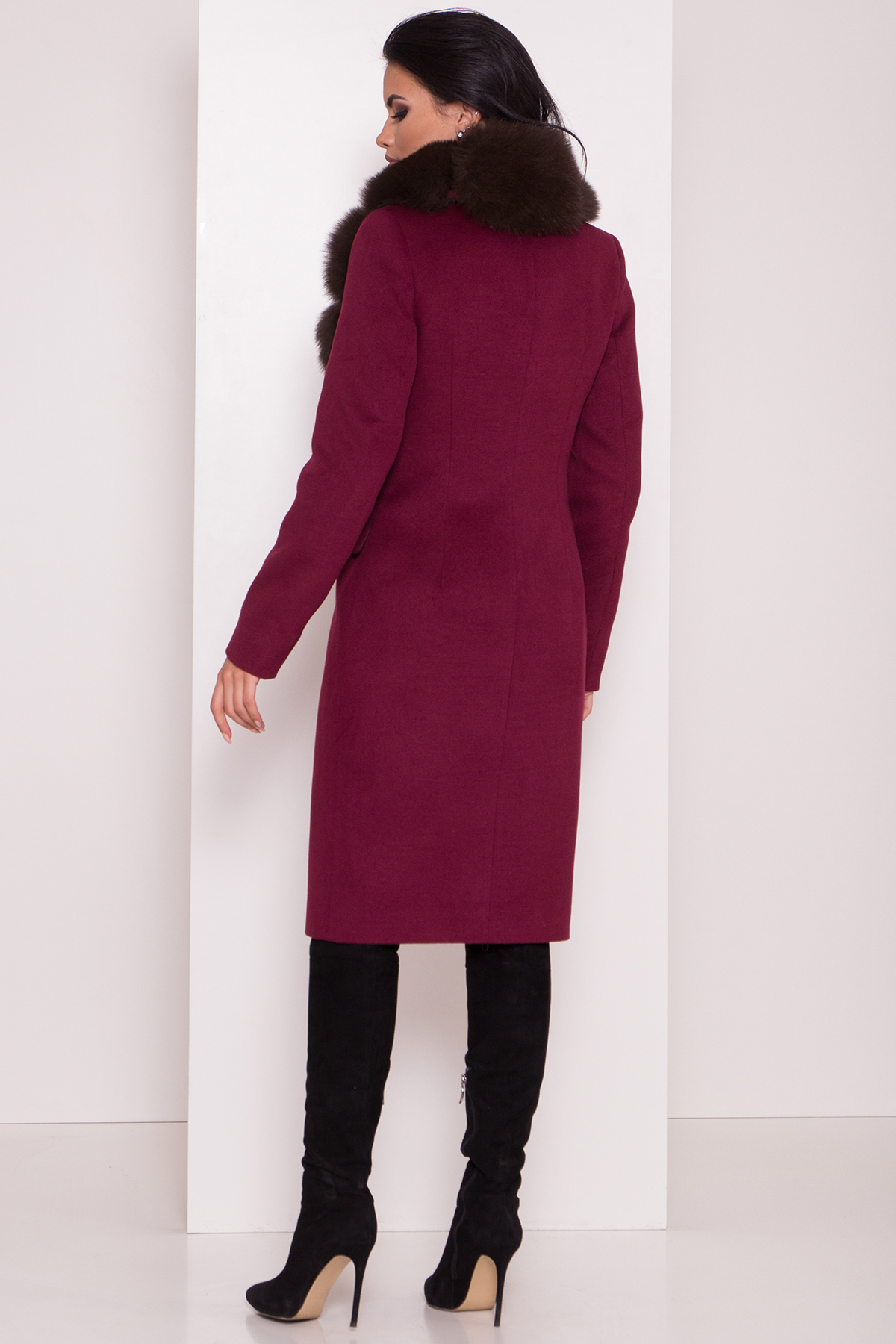 Кашемировое зимнее пальто Лабио 8154 АРТ. 44108 Цвет: Марсала 2 - фото 4, интернет магазин tm-modus.ru