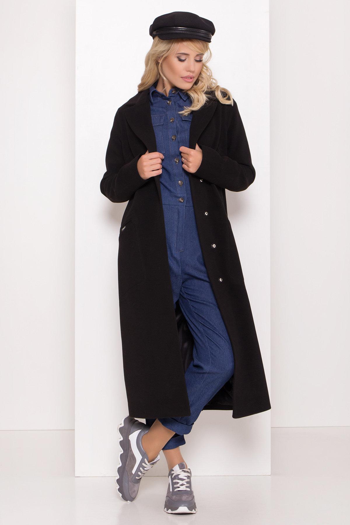 Длинное демисезонное пальто Ждана лайт 8111 АРТ. 44060 Цвет: чёрный - фото 1, интернет магазин tm-modus.ru