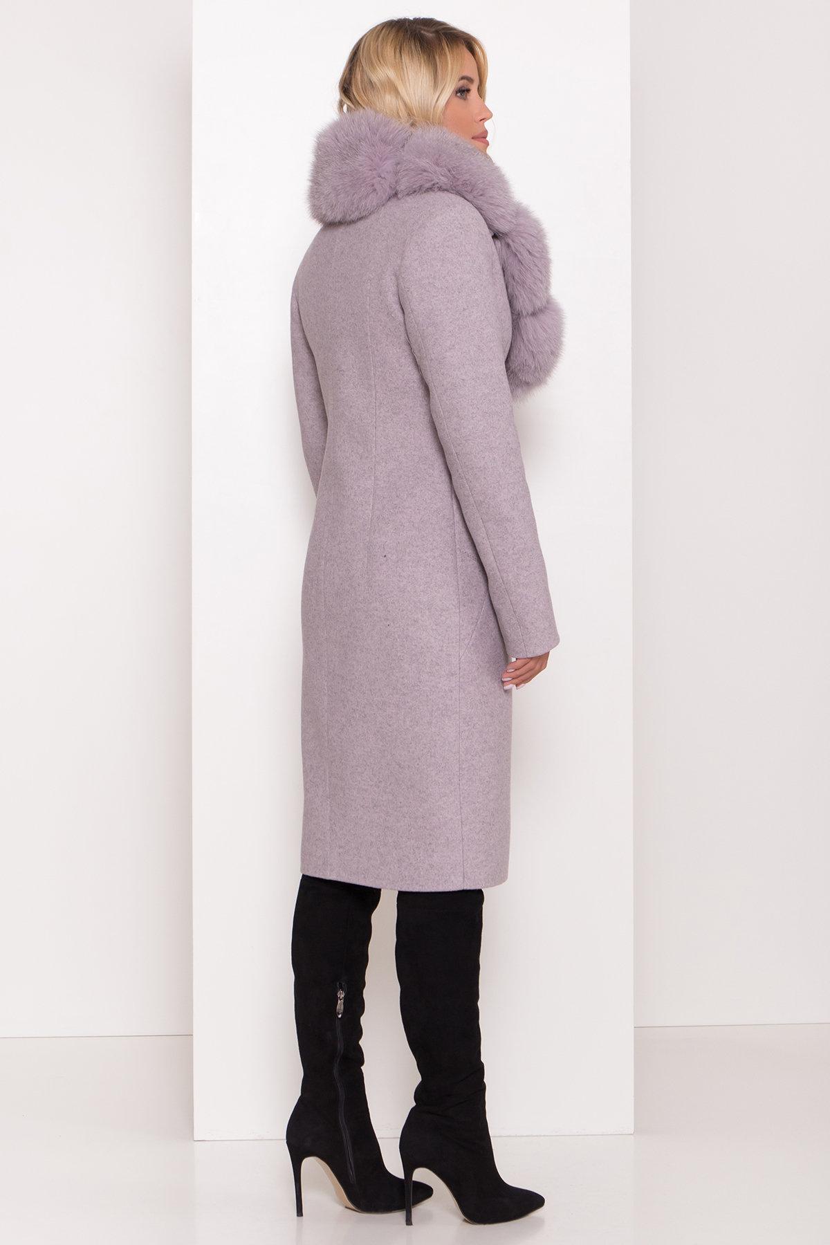 Серое стильное пальто зима с меховым воротником Камила классик 8165 Цвет: Серо-розовый 46