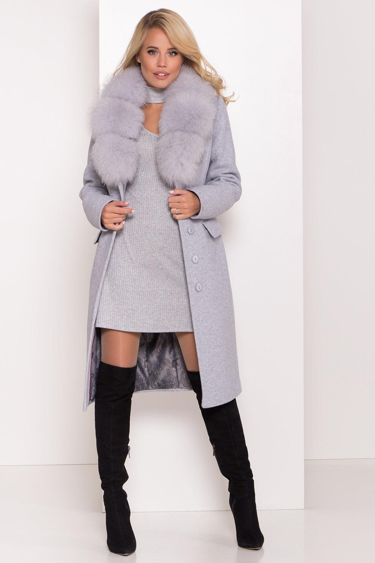Пальто зима с меховым воротником Лабио 8149 АРТ. 44105 Цвет: Серый Светлый 33 - фото 2, интернет магазин tm-modus.ru