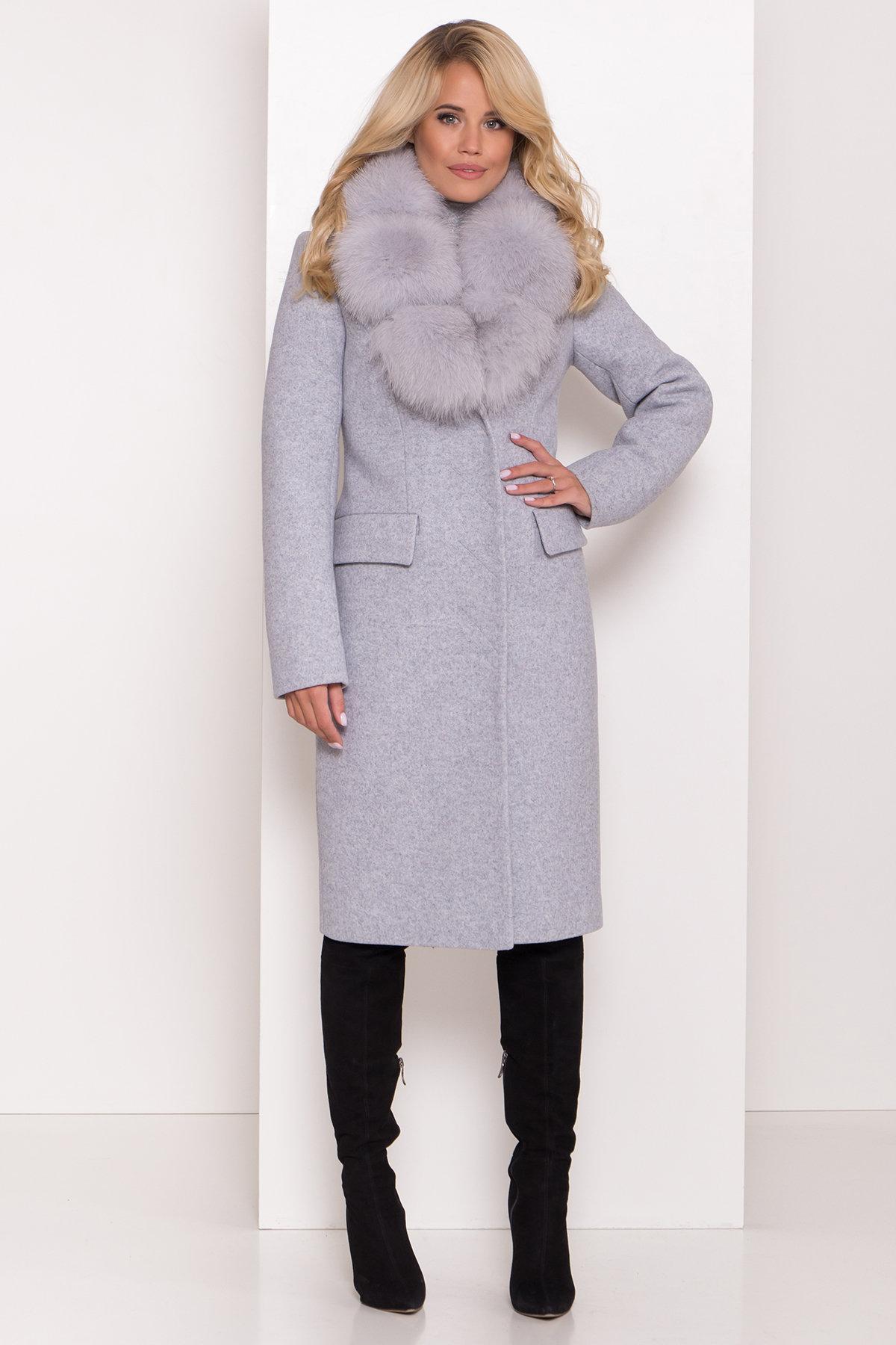 Пальто зима с меховым воротником Лабио 8149 АРТ. 44105 Цвет: Серый Светлый 33 - фото 3, интернет магазин tm-modus.ru