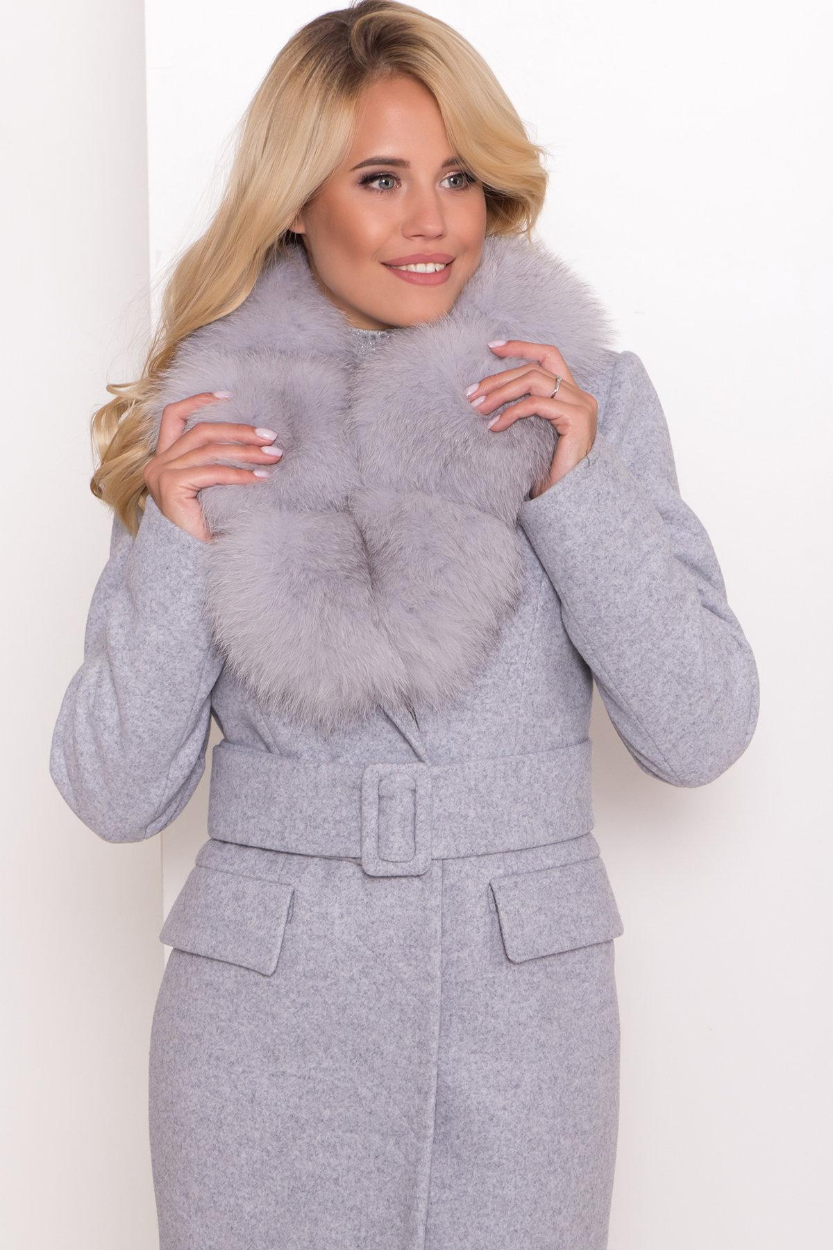Пальто зима с меховым воротником Лабио 8149 АРТ. 44105 Цвет: Серый Светлый 33 - фото 5, интернет магазин tm-modus.ru