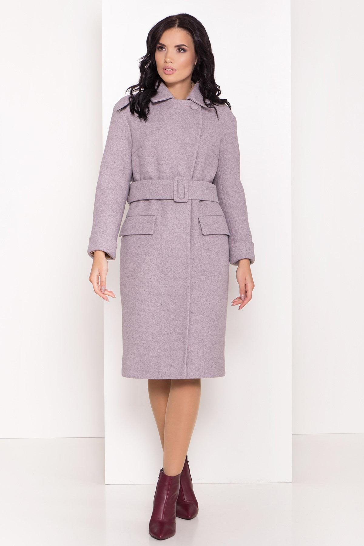 Зимнее пальто с отложным воротником Моле 8085 Цвет: Серо-розовый 46