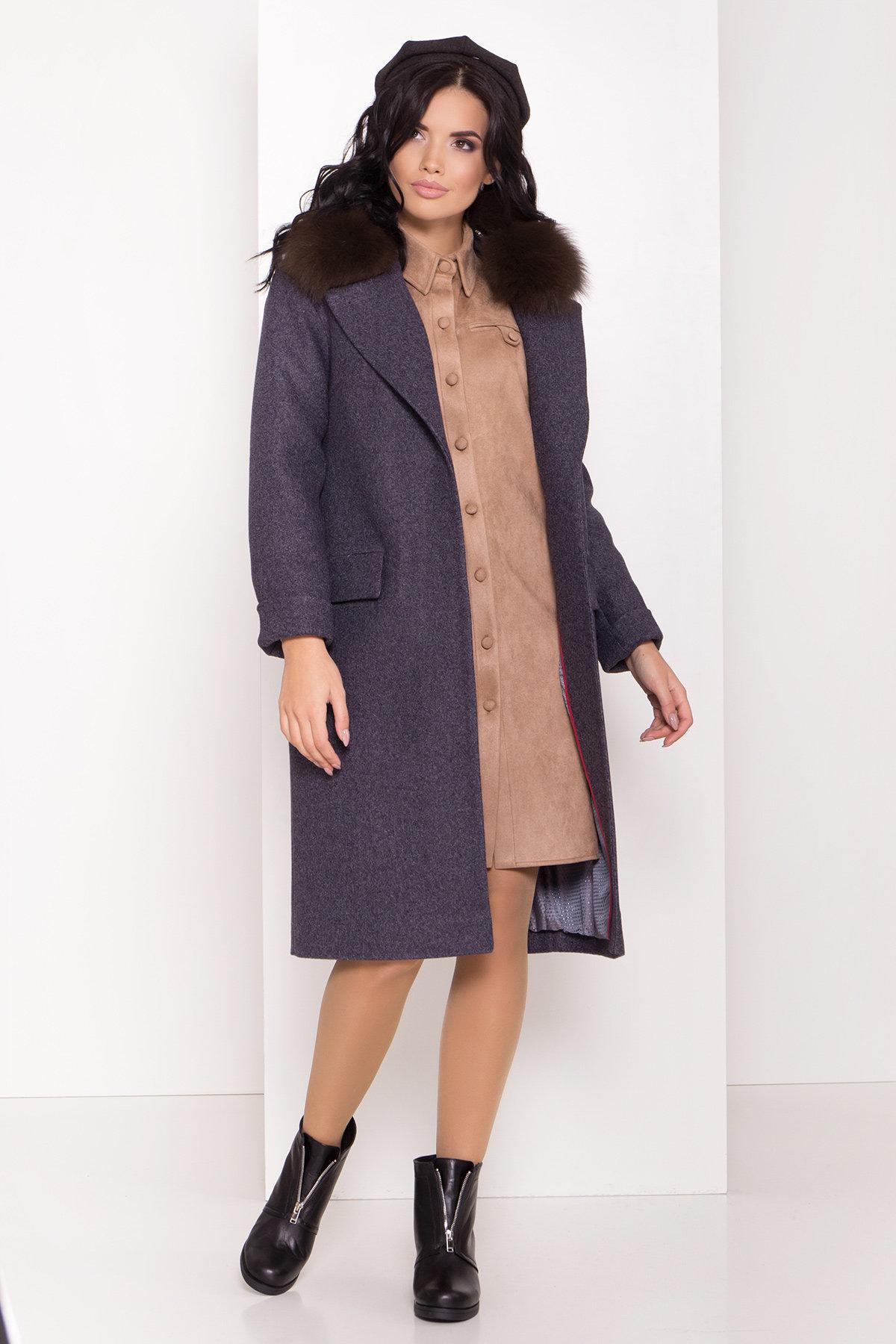 Зимнее пальто с меховым воротником Моле 8185 АРТ. 44191 Цвет: Т.синий 543 - фото 1, интернет магазин tm-modus.ru