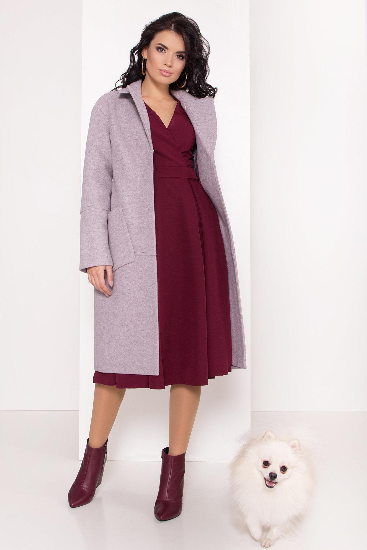 Элегантное зимнее пальто миди длины с накладными карманами Флорида 8138 АРТ. 44094 Цвет: Серо-розовый 46 - фото 1, интернет магазин tm-modus.ru
